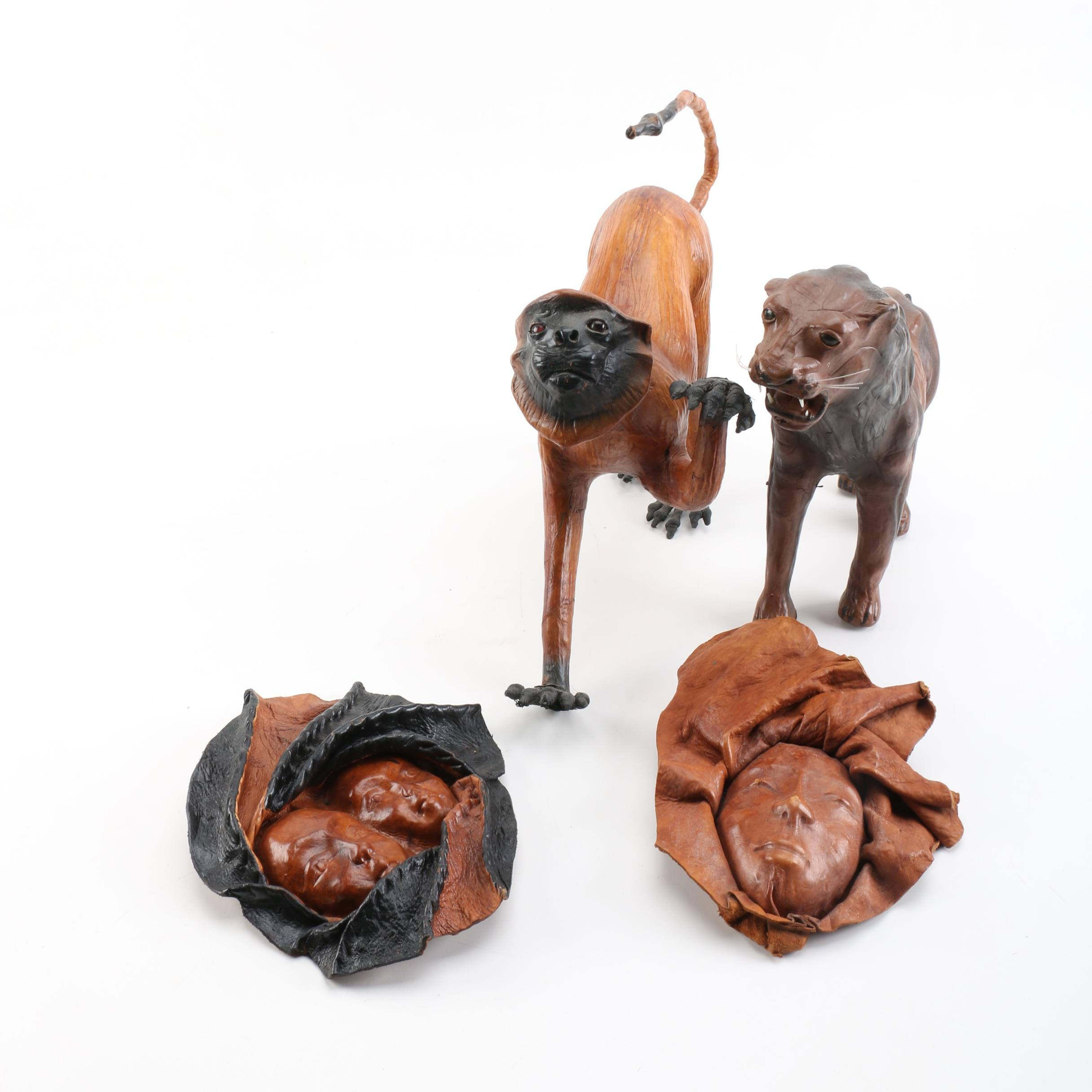 Animal Figurines and Haitian Leather Sculptures