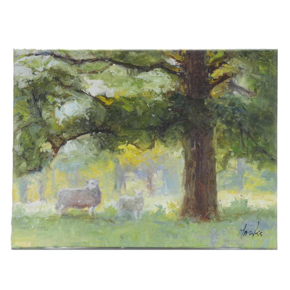 Hanks Signed Oil Painting of Sheep in an Orchard