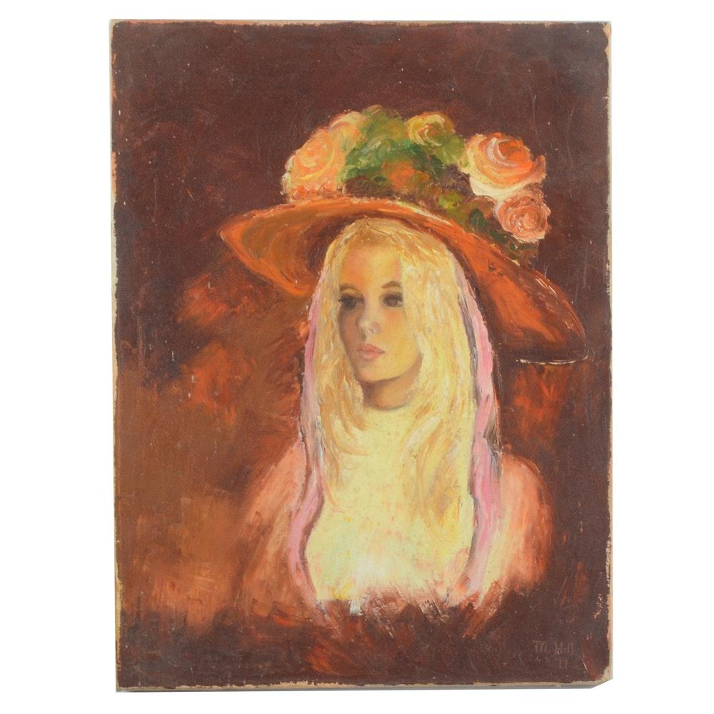 M. Hill Vintage Oil on Canvas Portrait Painting