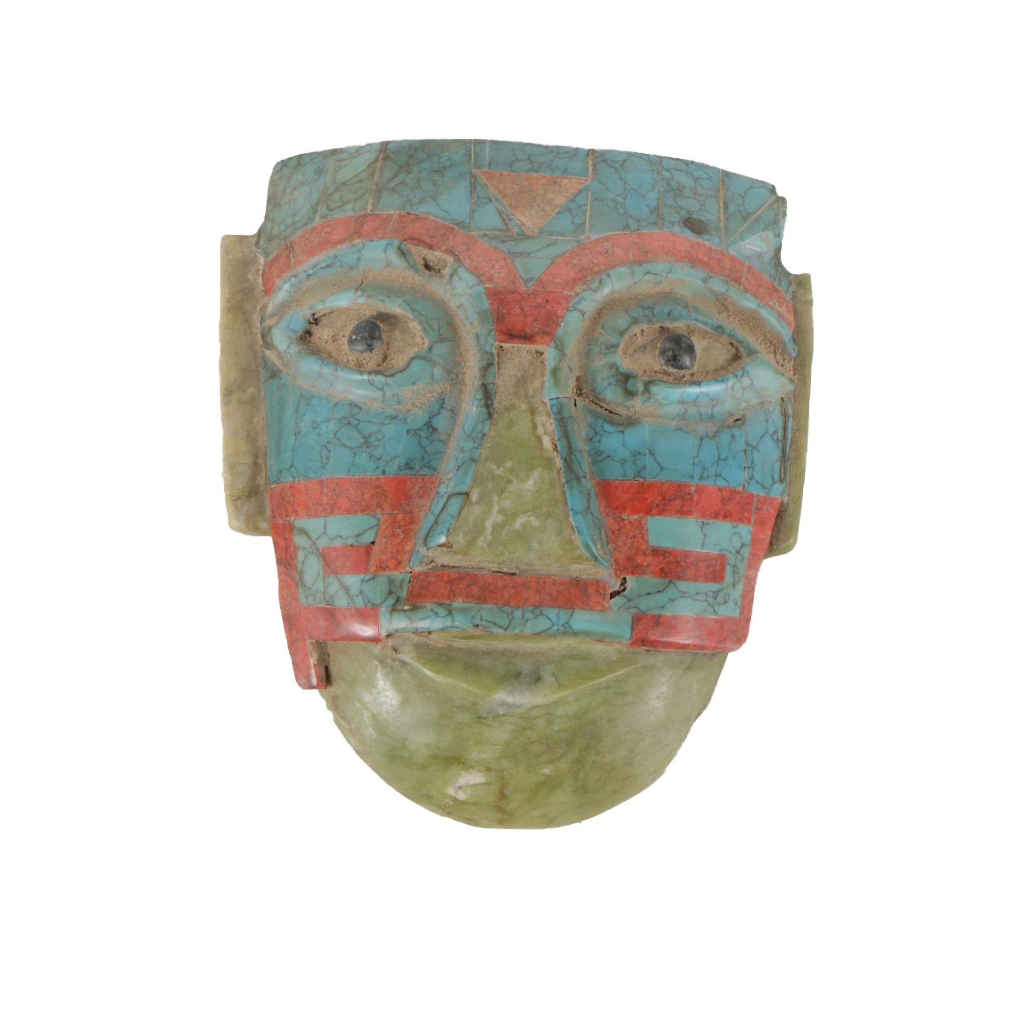 Hand Carved Serpentine and Magnesite Face