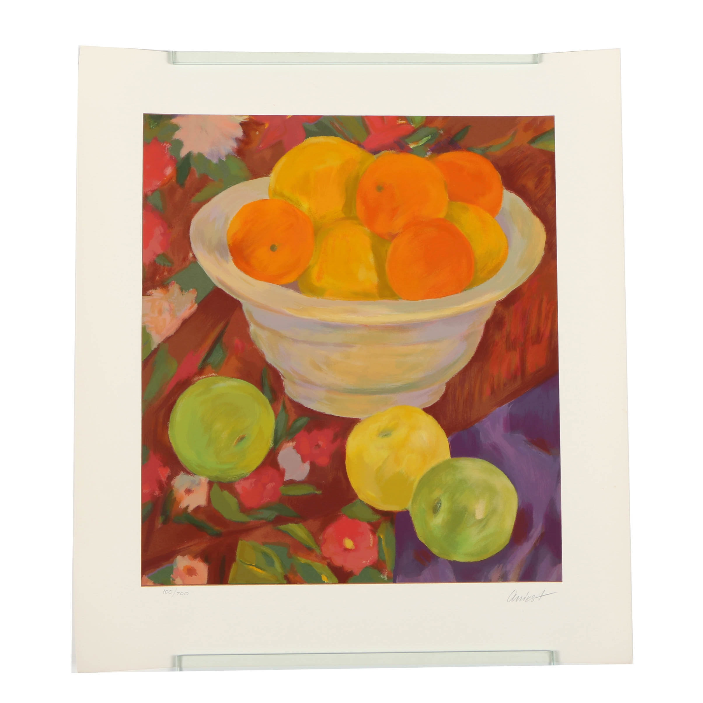 "Helen Anikst Serigraph ""Still-Life with Fruit"""