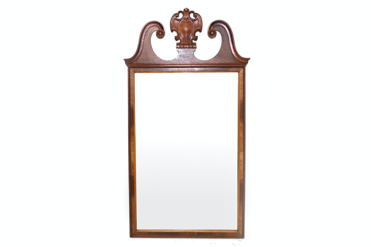 Chippendale Style Mahogany Carved Floral Wall Mirror