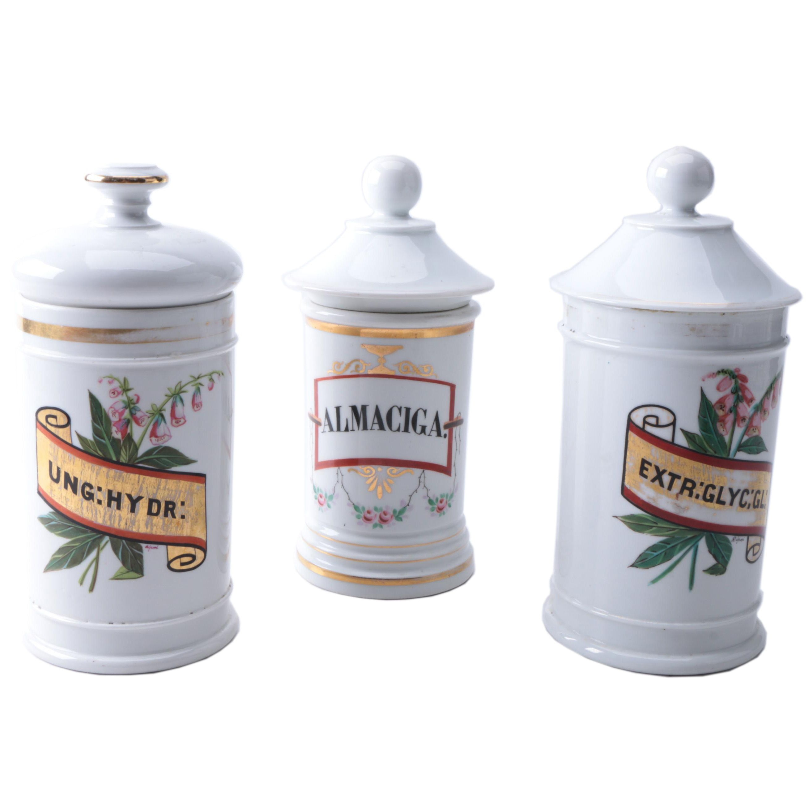 Vintage French Hand-Painted Apothecary Jars