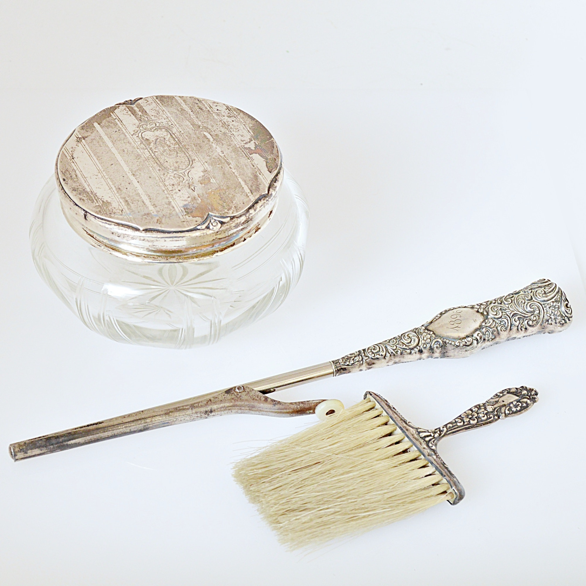 Sterling Silver Handled and Lidded Vanity Accessories