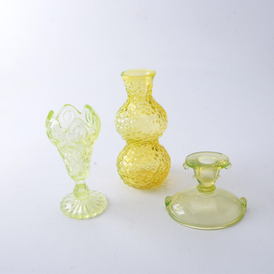 Vintage Vaseline Glass Vases And Candle Holder Ebth