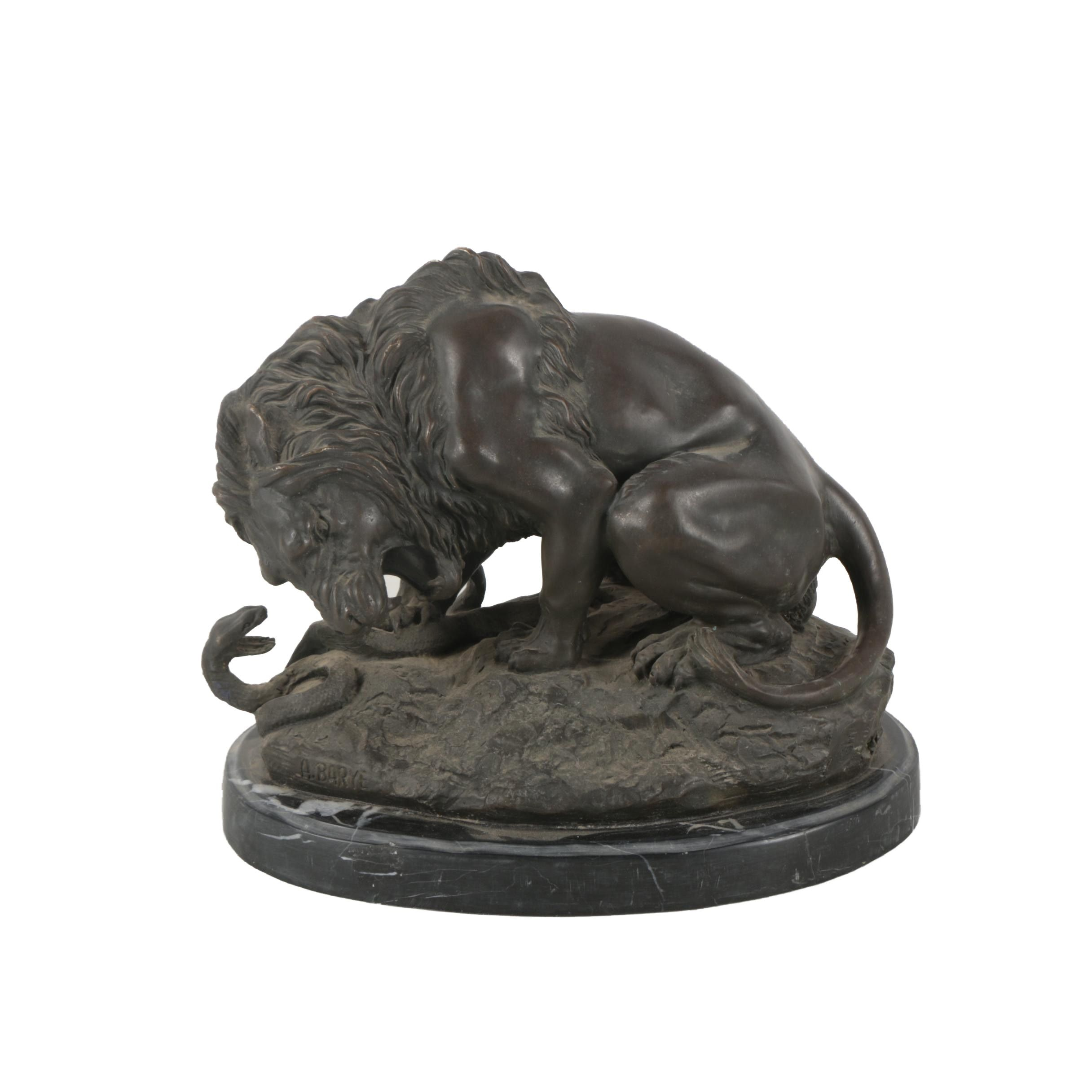 """Brass Sculpture After Antoine-Louis Barye """"Lion and Serpent"""""""