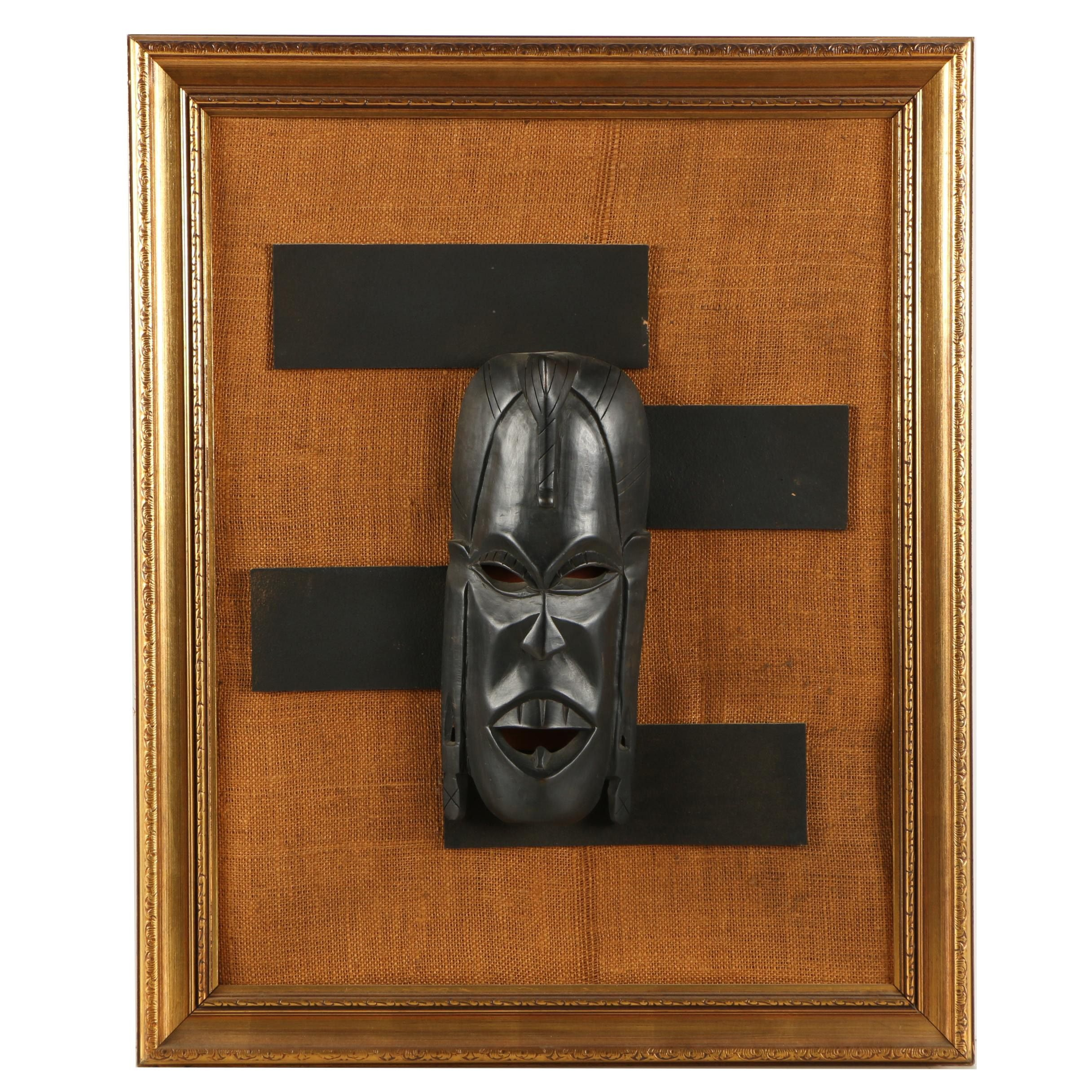 West African Style Carved Wood Mask Wall Hanging
