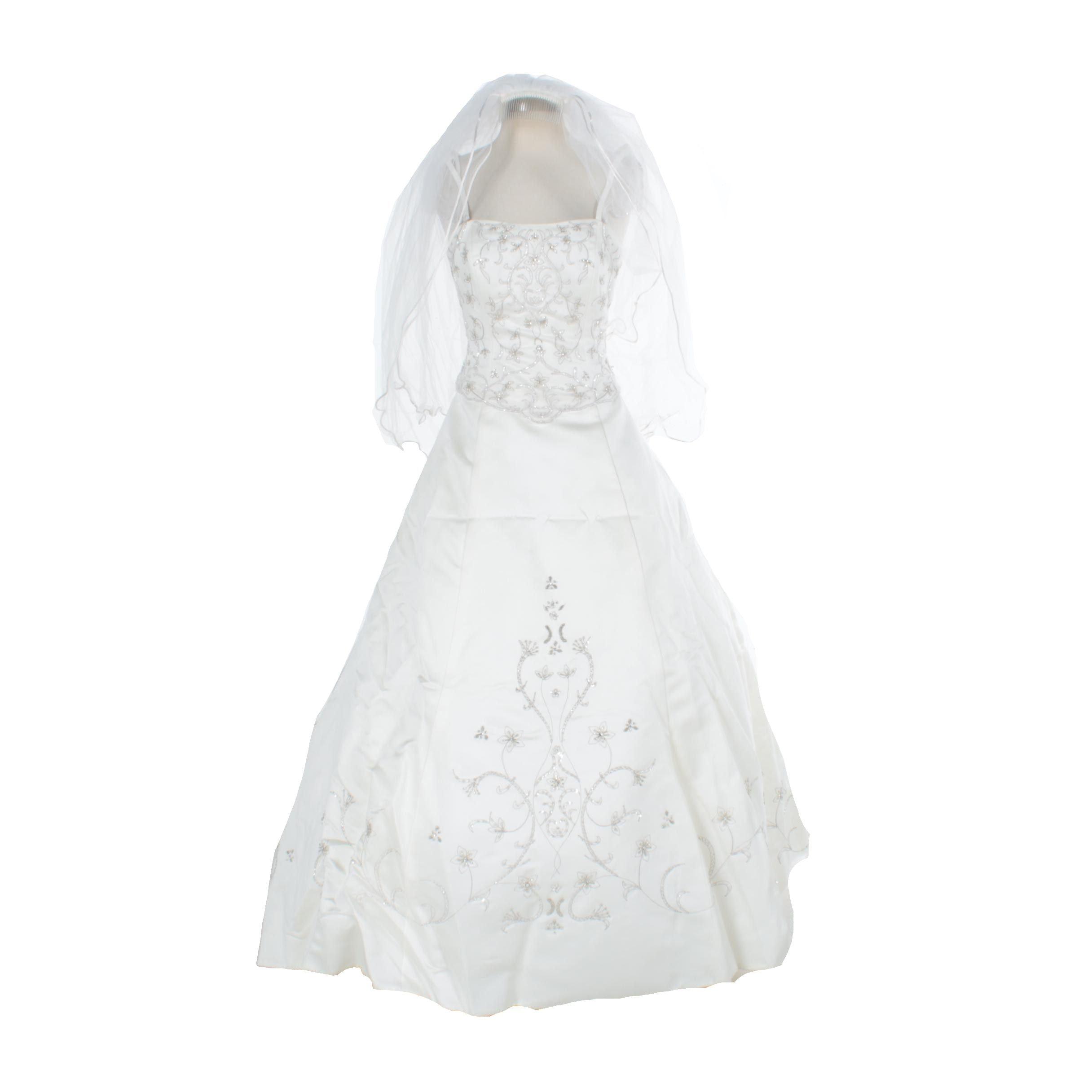Sleeveless Beaded Wedding Gown with Veil