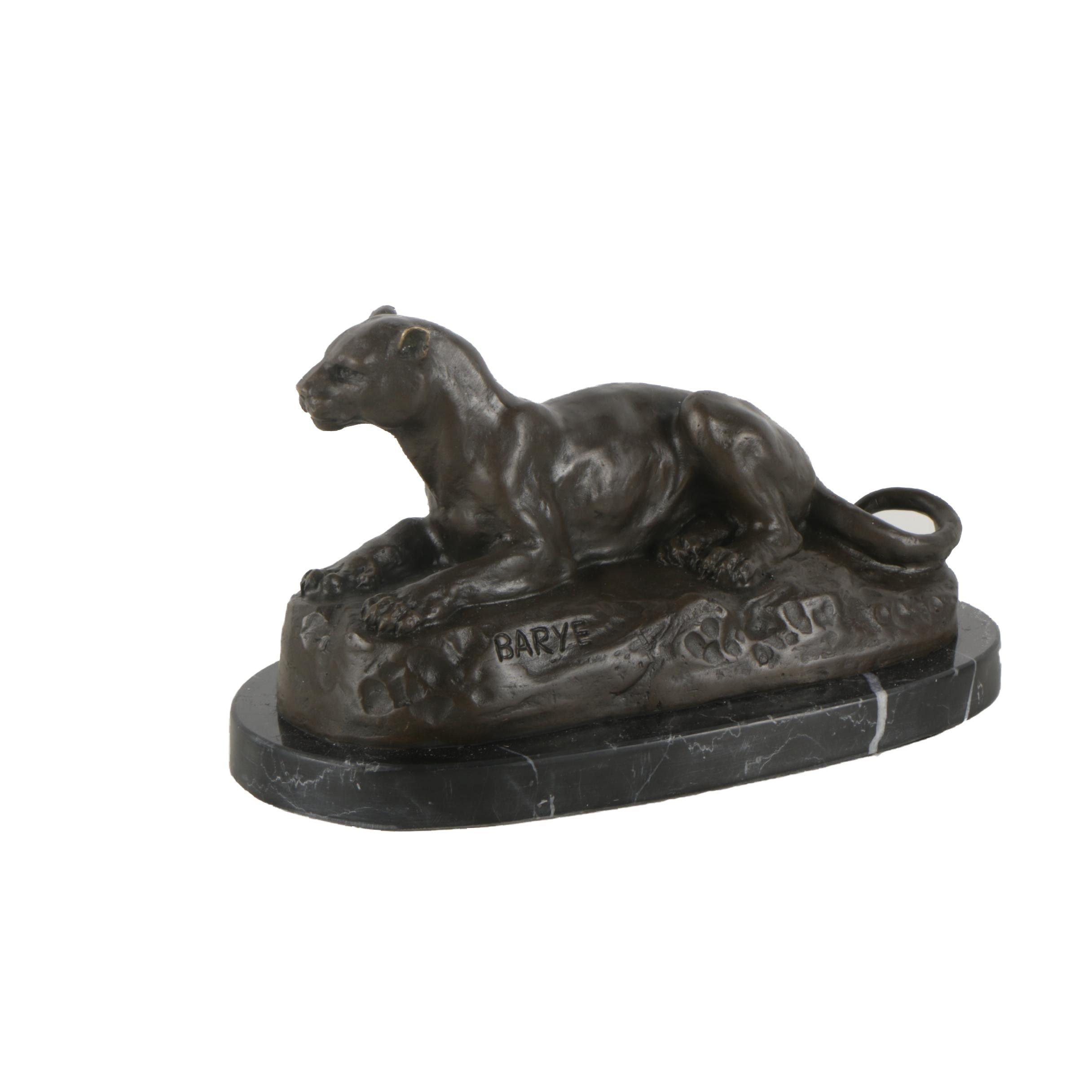 """Brass Sculpture After Antoine-Louis Barye """"Panthère de Tunis"""""""