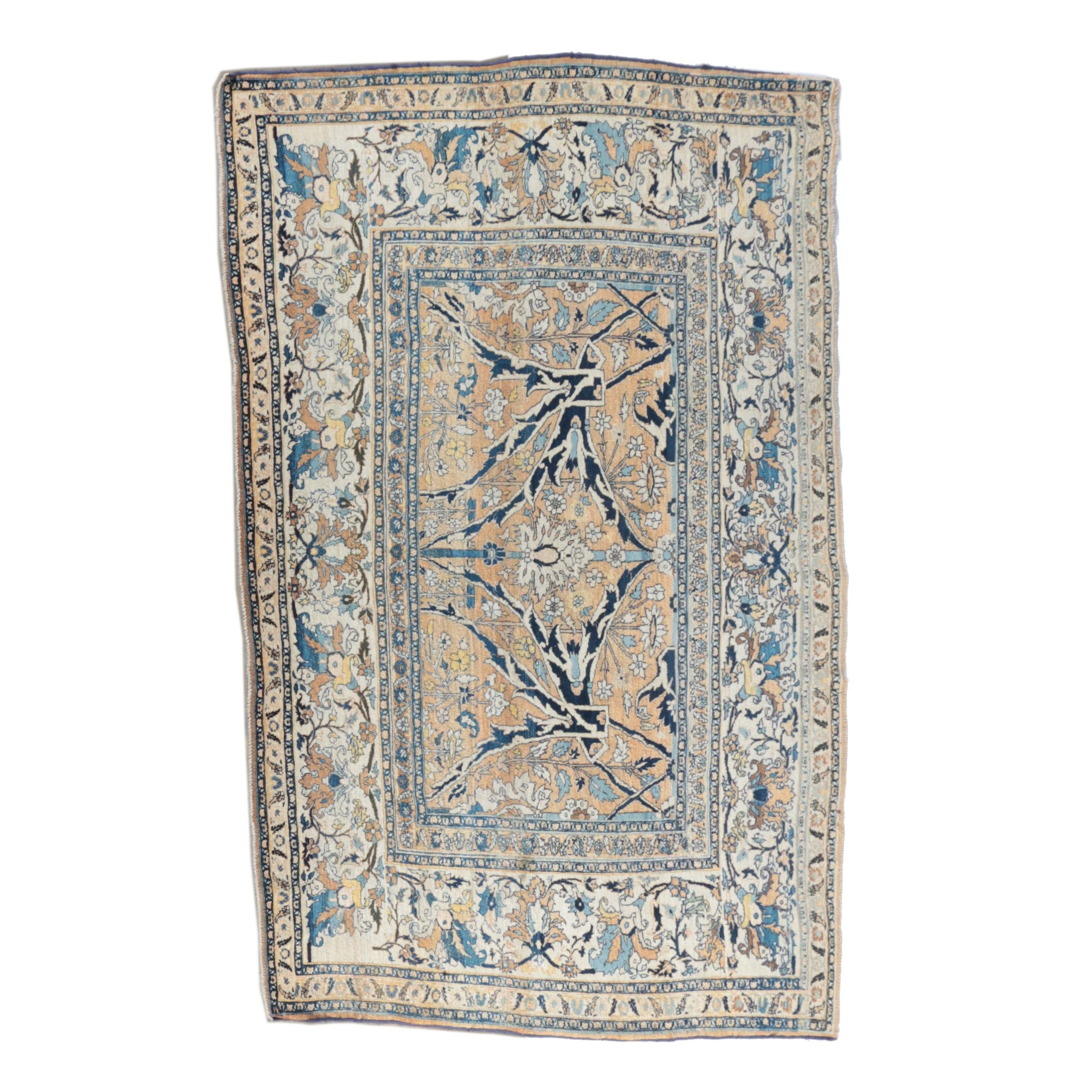 Hand-Knotted Semi-Antique Persian Tabriz Area Rug