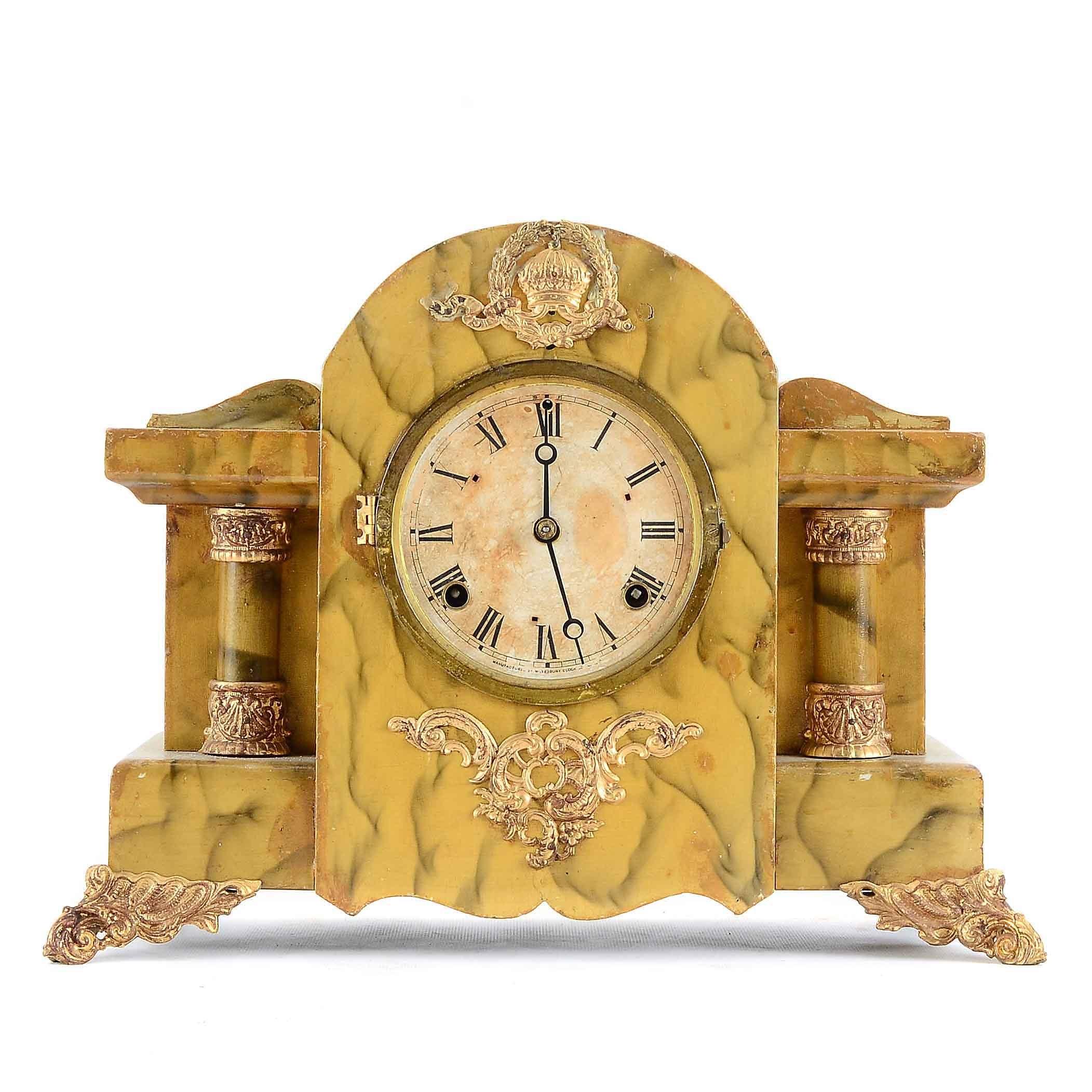 Vintage Mantel Clock with Faux Stone Case