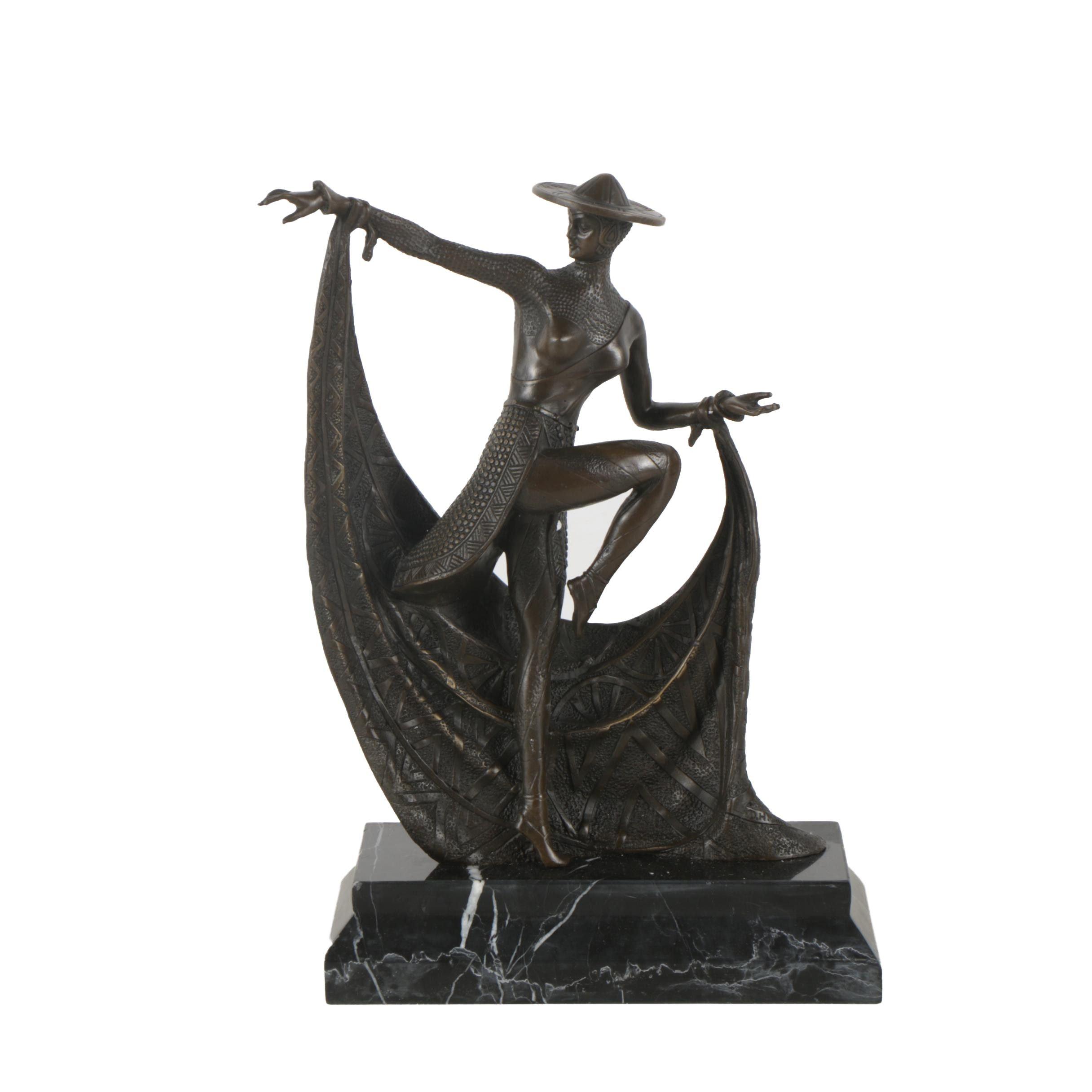 Art Deco Style Brass Sculpture After Demétre Chiparus