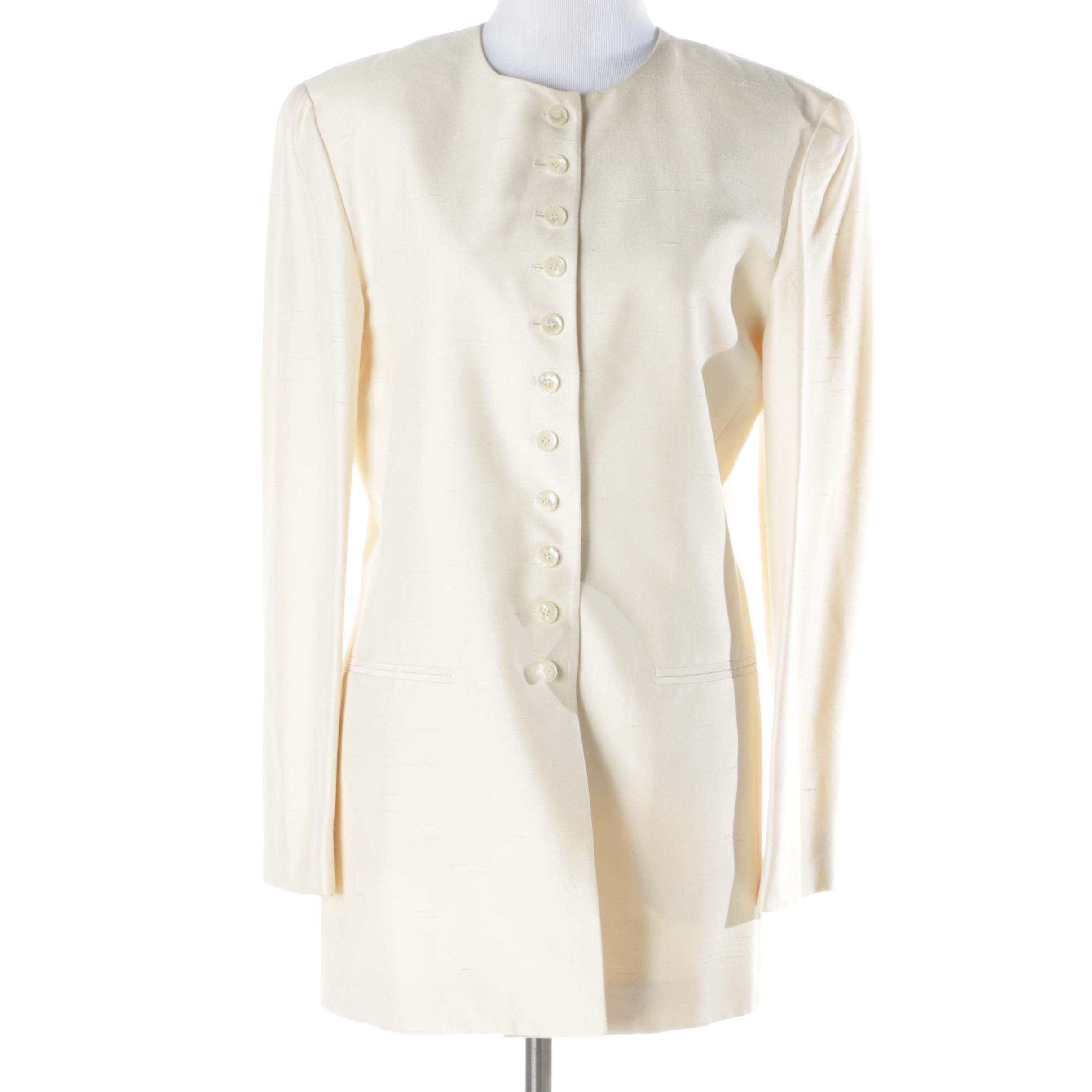 Women's Jones New York Cream Silk Suit Jacket