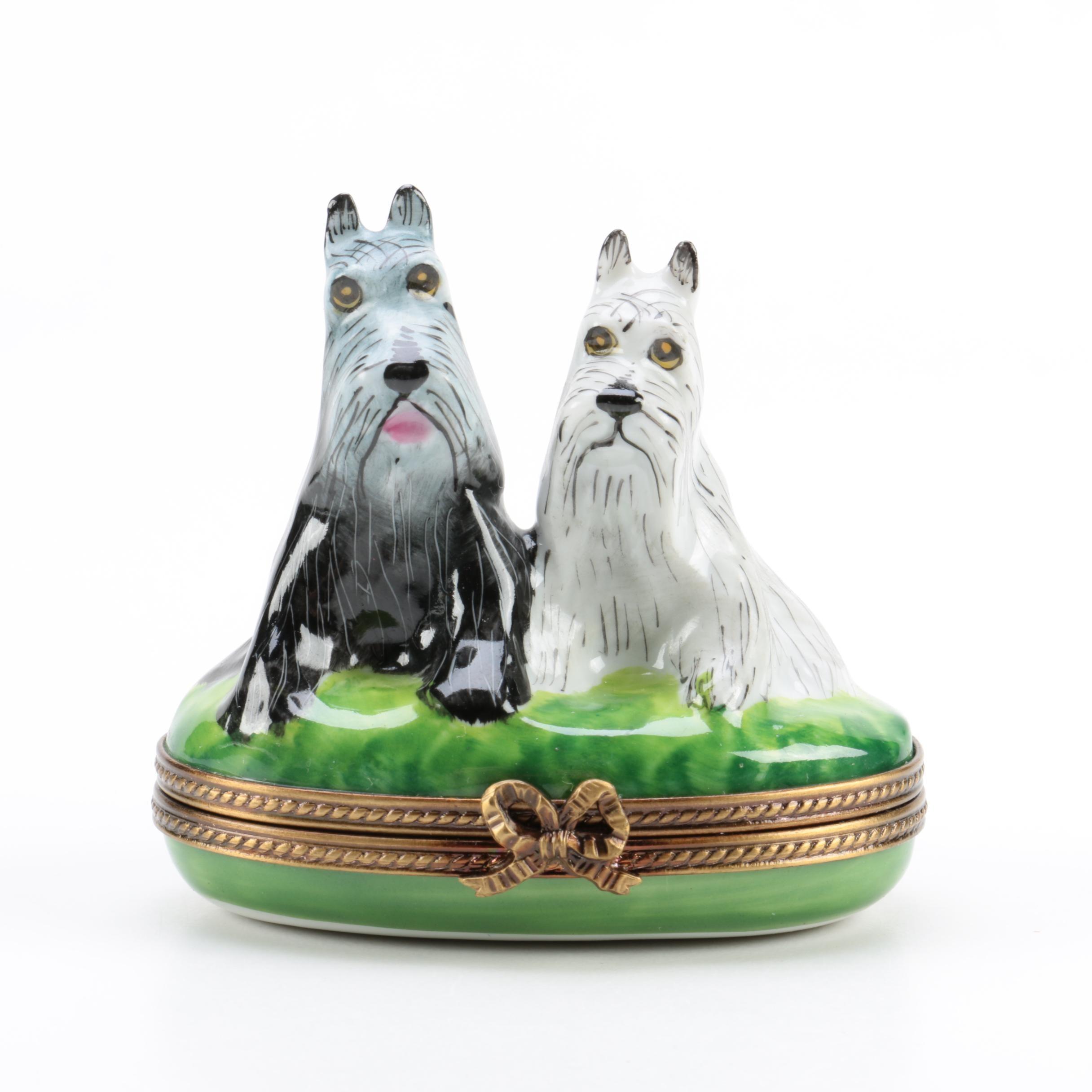 Hand Painted Limoges Porcelain Terrier Trinket Box