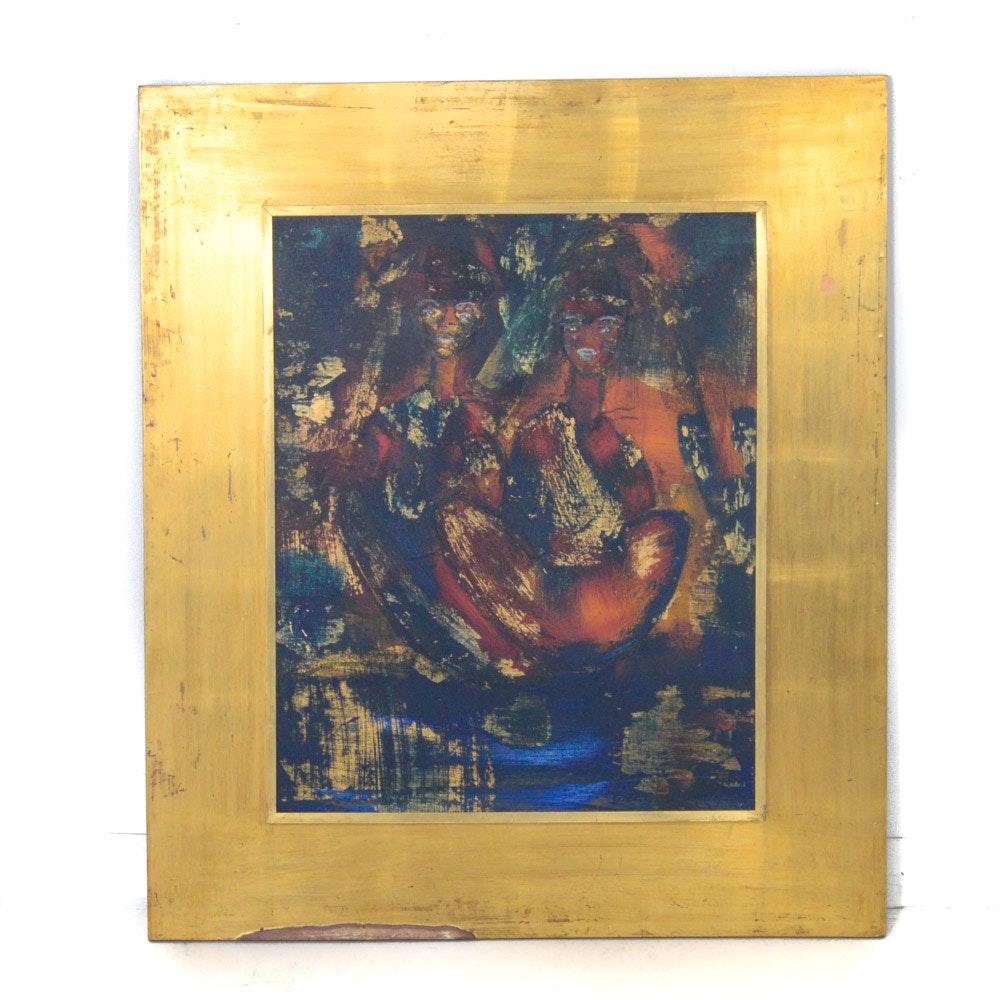 Gregory Fink Vintage Oil and Gold Leaf on Masonite