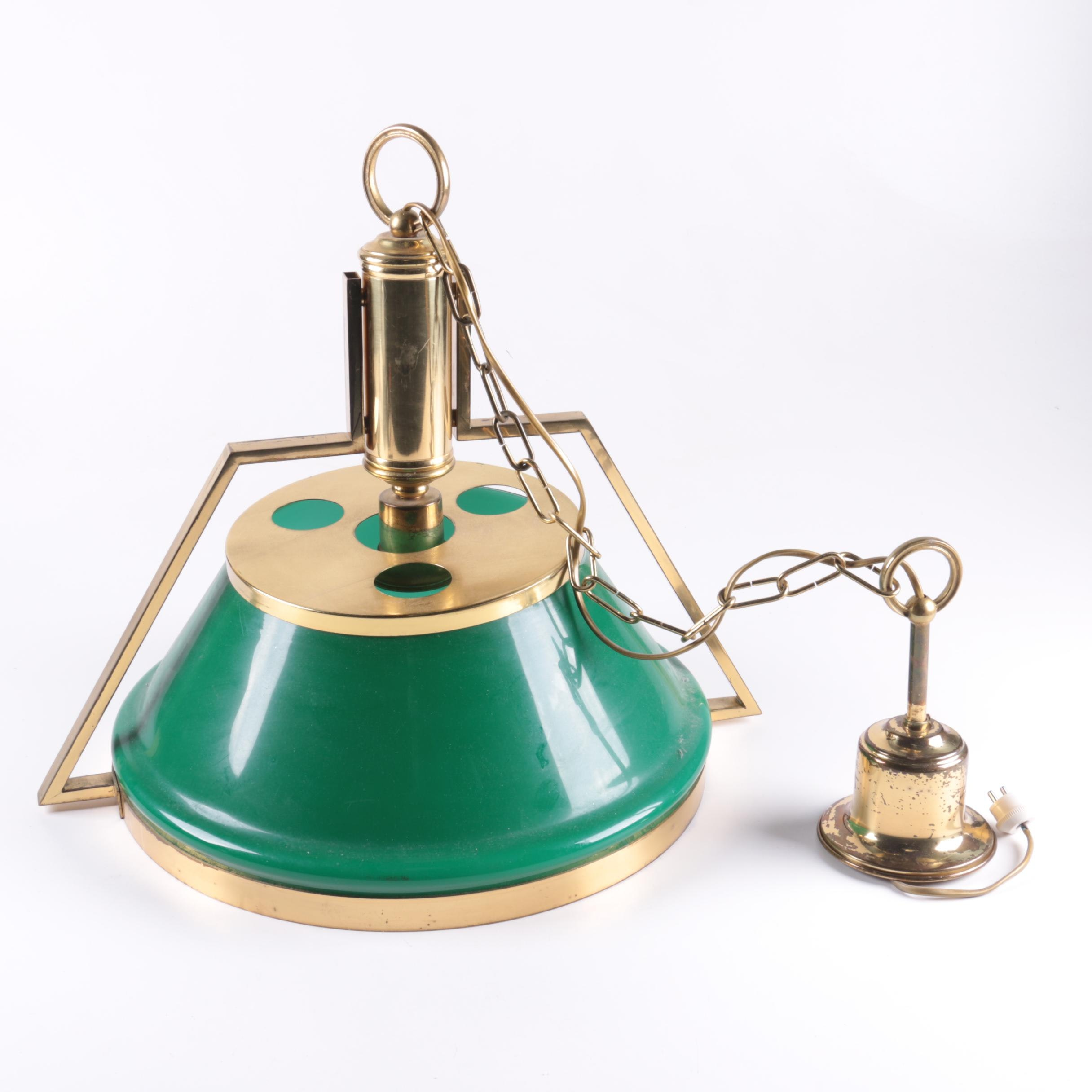 Brass Pendant Light With Green Glass Shade