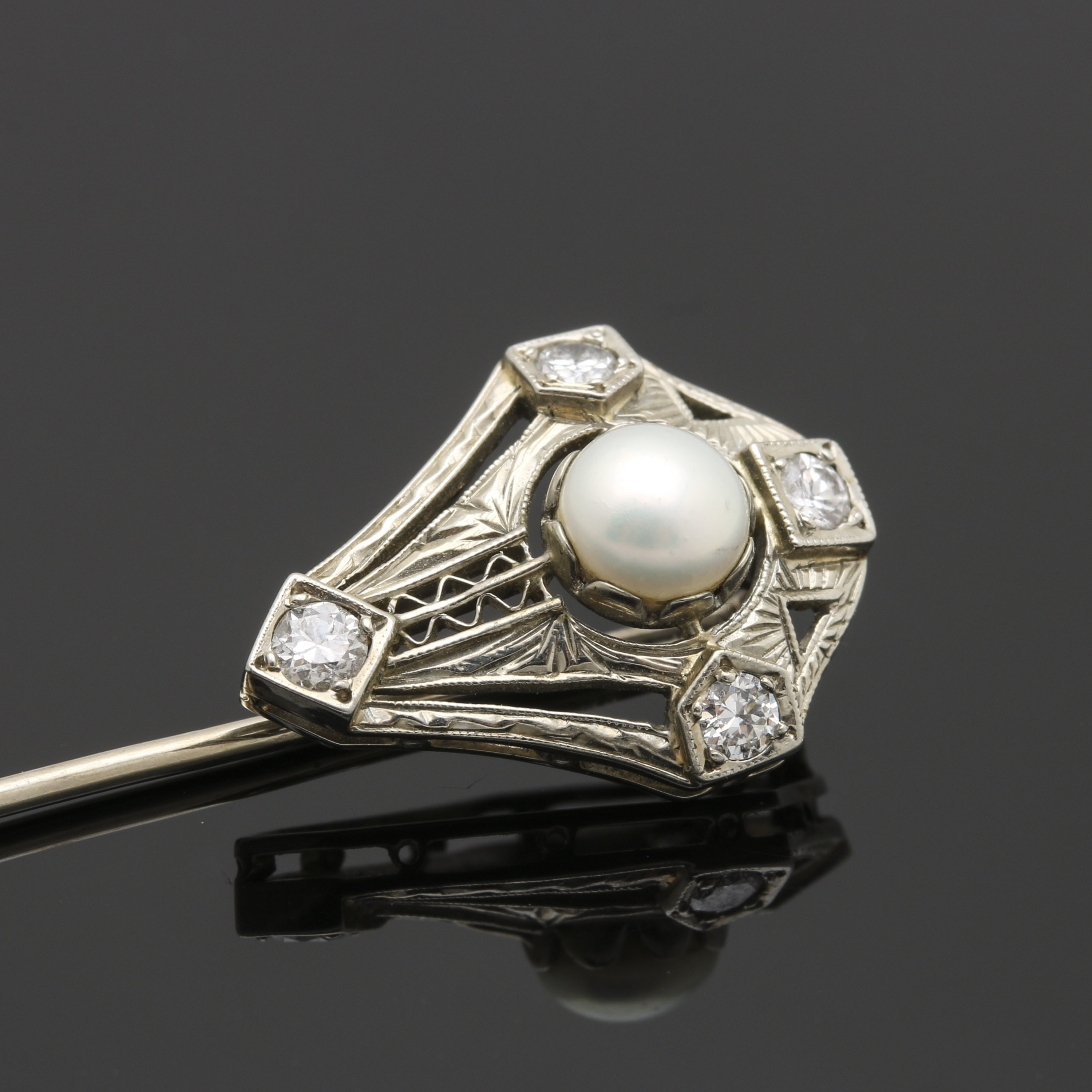 Late Edwardian 18K White Gold and Platinum Cultured Pearl and Diamond Stick Pin