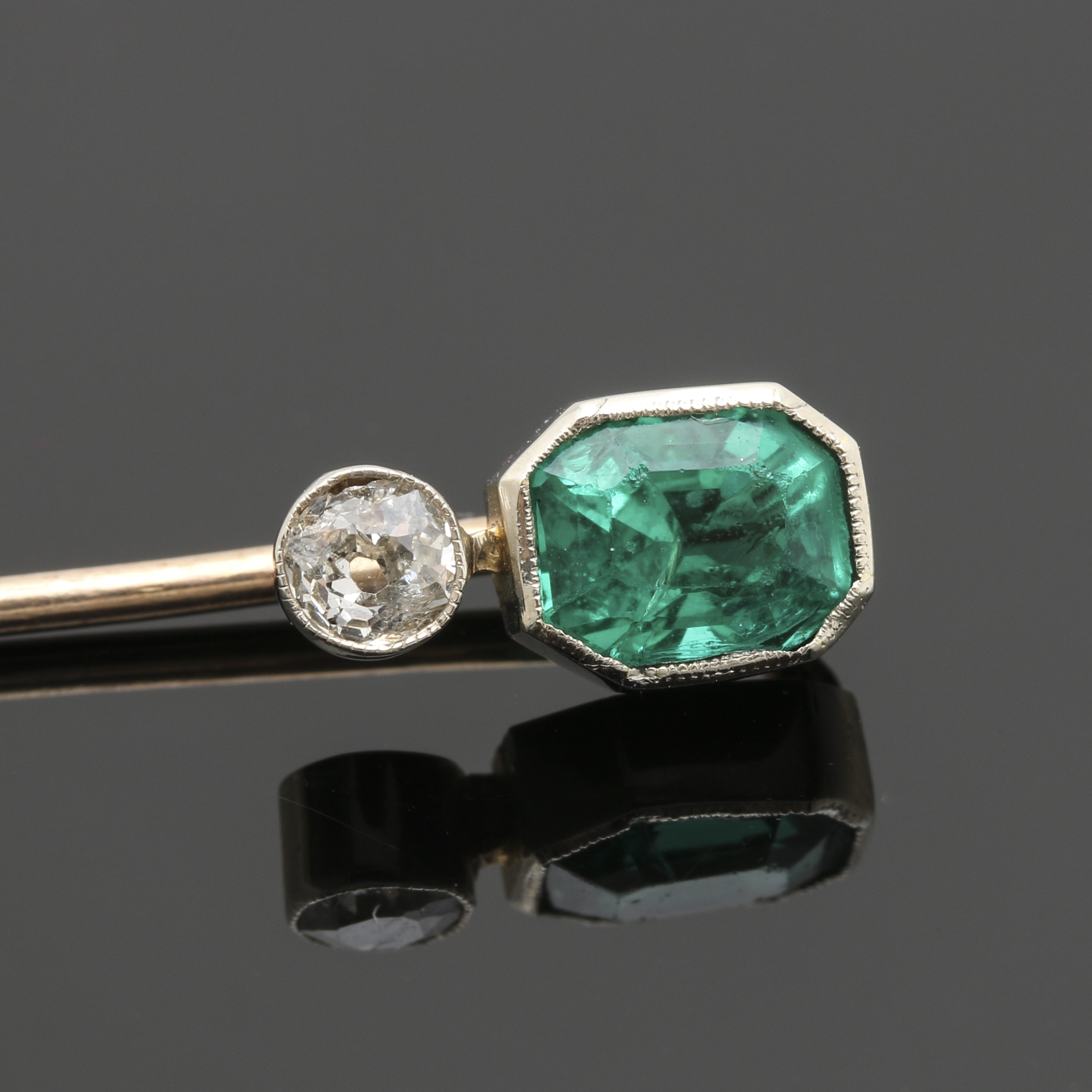 Art Deco 10K Yellow Gold and 14K White Gold Diamond with Glass Stick Pin