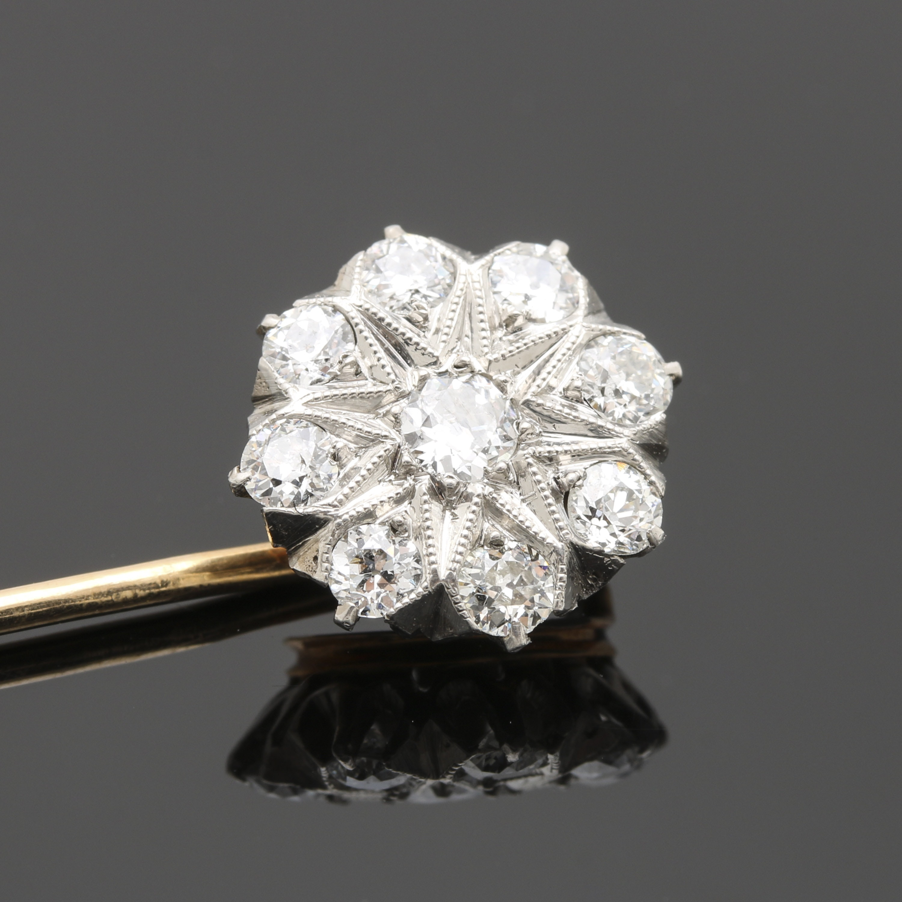 Edwardian 14K Yellow Gold and Platinum Old European Cut Diamond Floral Stick Pin