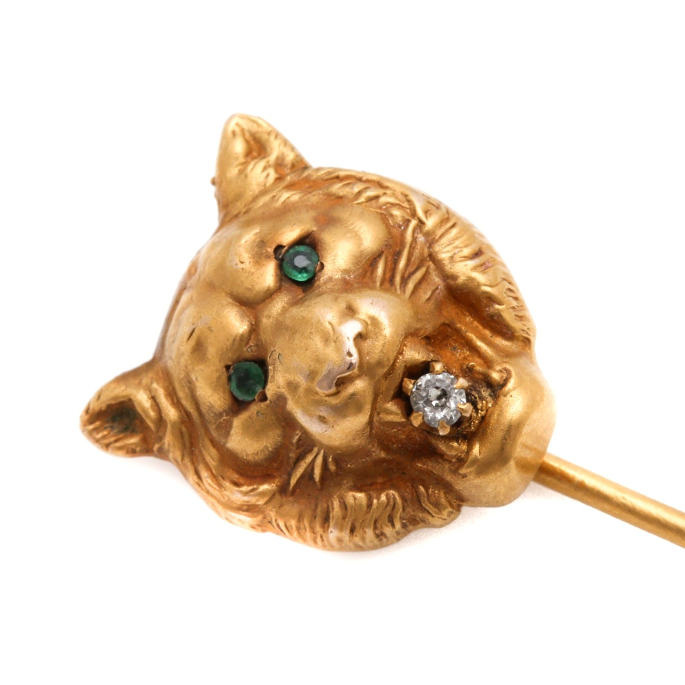 Victorian 14K Yellow Gold Tiger Head Stick Pin with Emeralds and Diamond