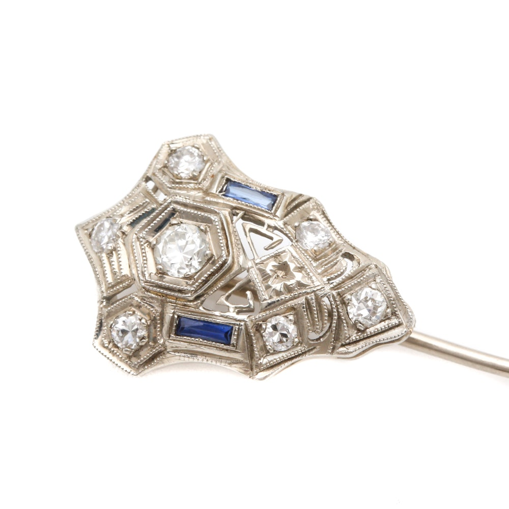 Art Deco 10K and 14K White Gold Diamond and Synthetic Sapphire Stick Pin
