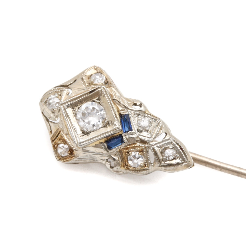 Art Deco 14K and 18K White Gold Diamond and Synthetic Sapphire Stick Pin