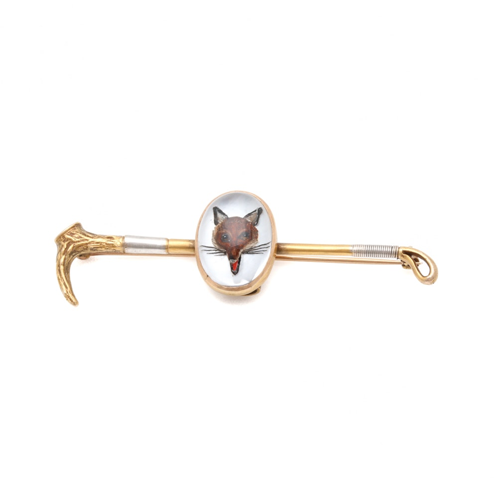 14K Yellow Gold Reverse Carved Quartz Fox Hunting Crop Stick Pin