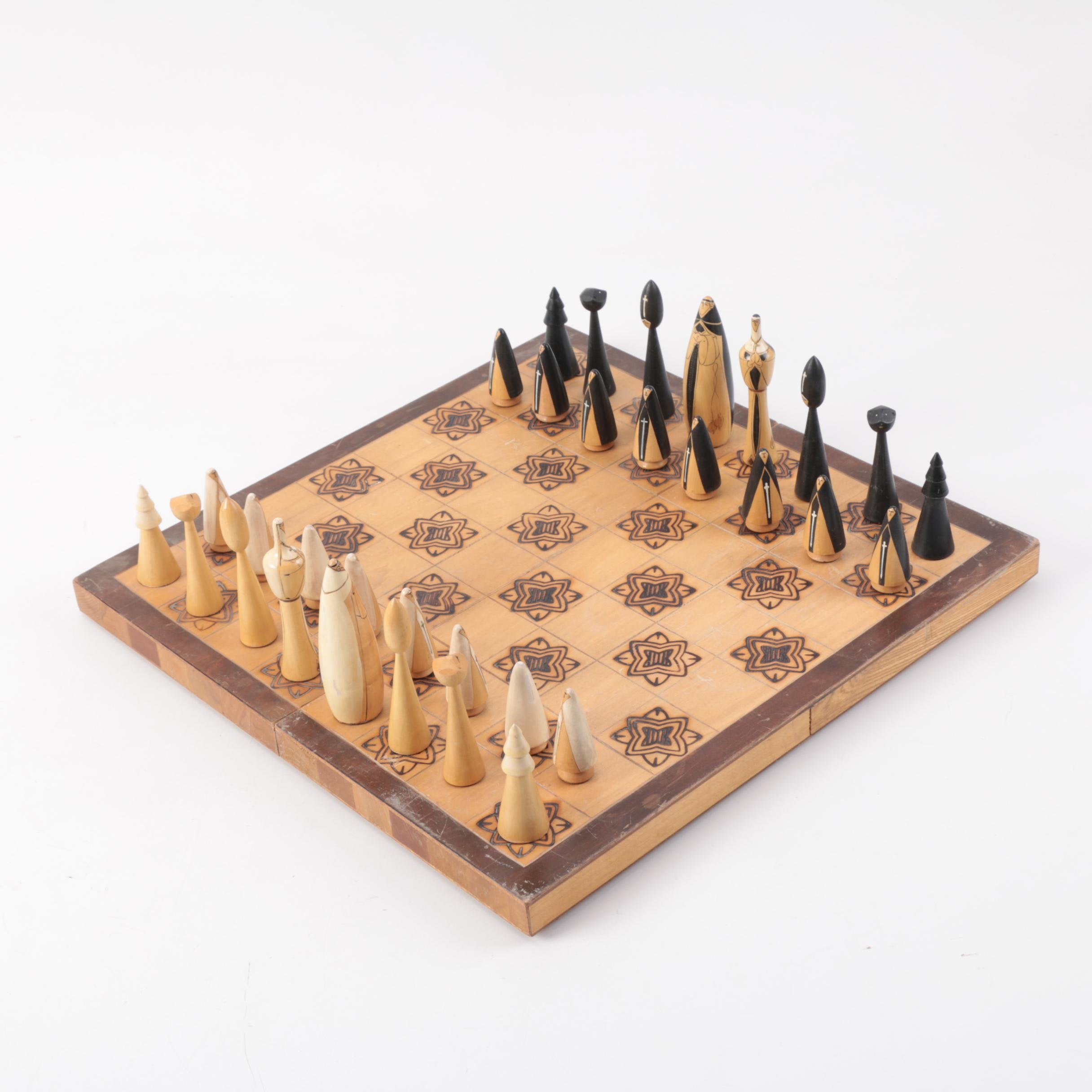 Vintage Wooden Chess Set