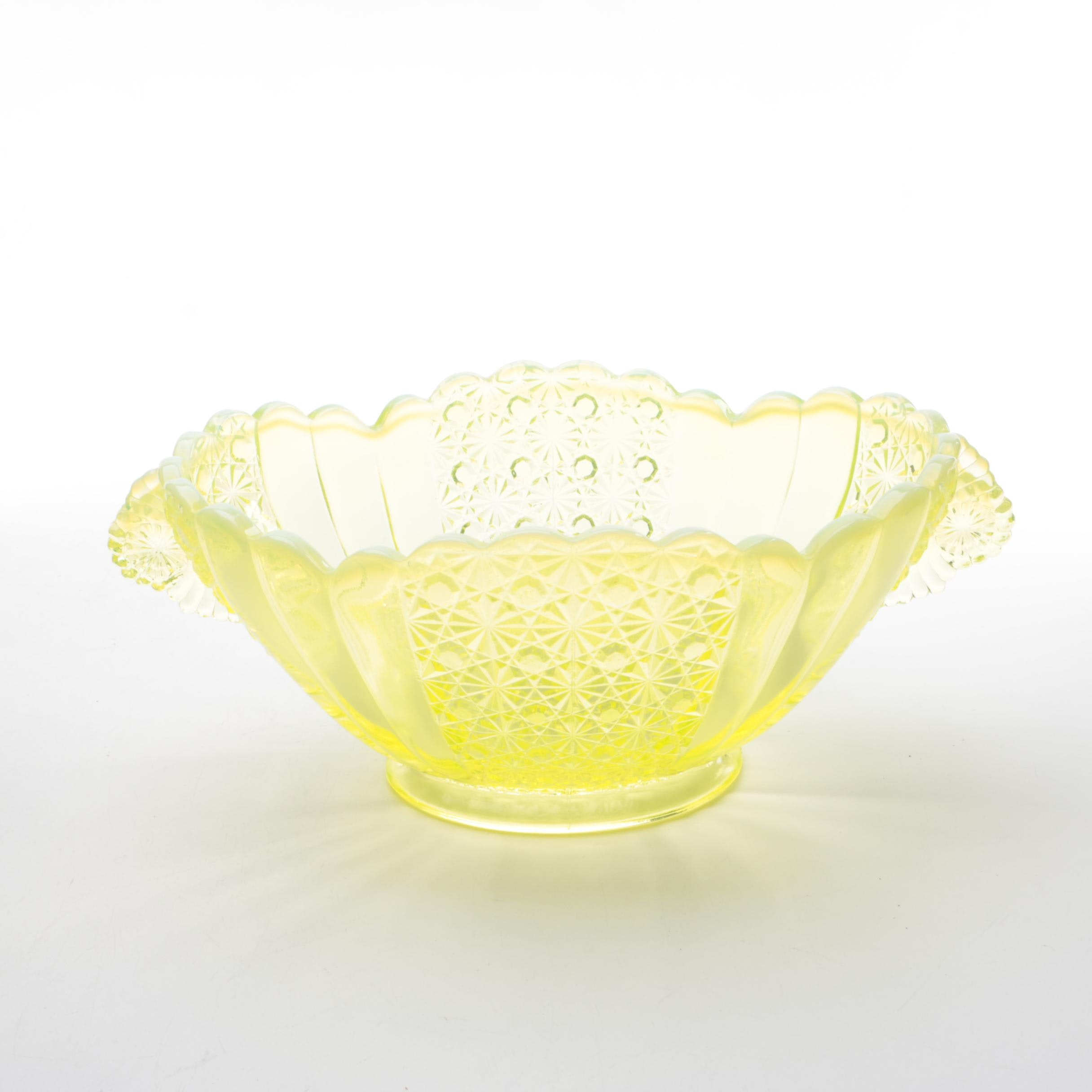 "Fenton ""Daisy and Button"" Handled Oval Yellow Vaseline Glass Bowl"