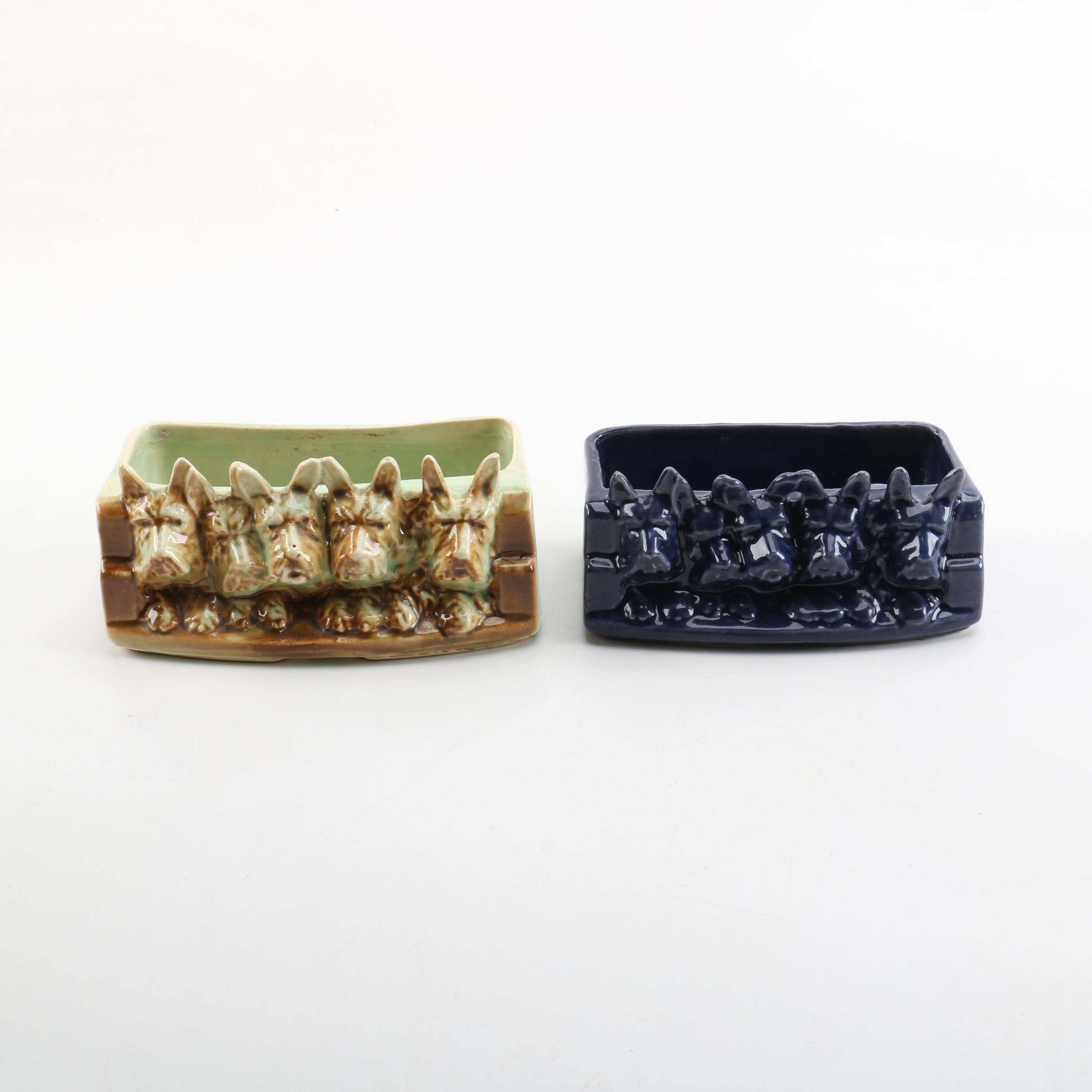Vintage McCoy Scottie Dog Rectangular Ceramic Planters