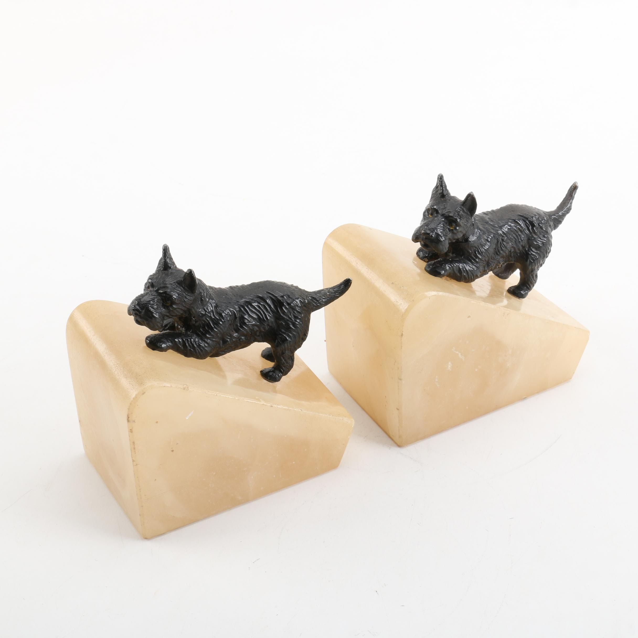 Alabaster and Resin Scottish Terrier Bookends