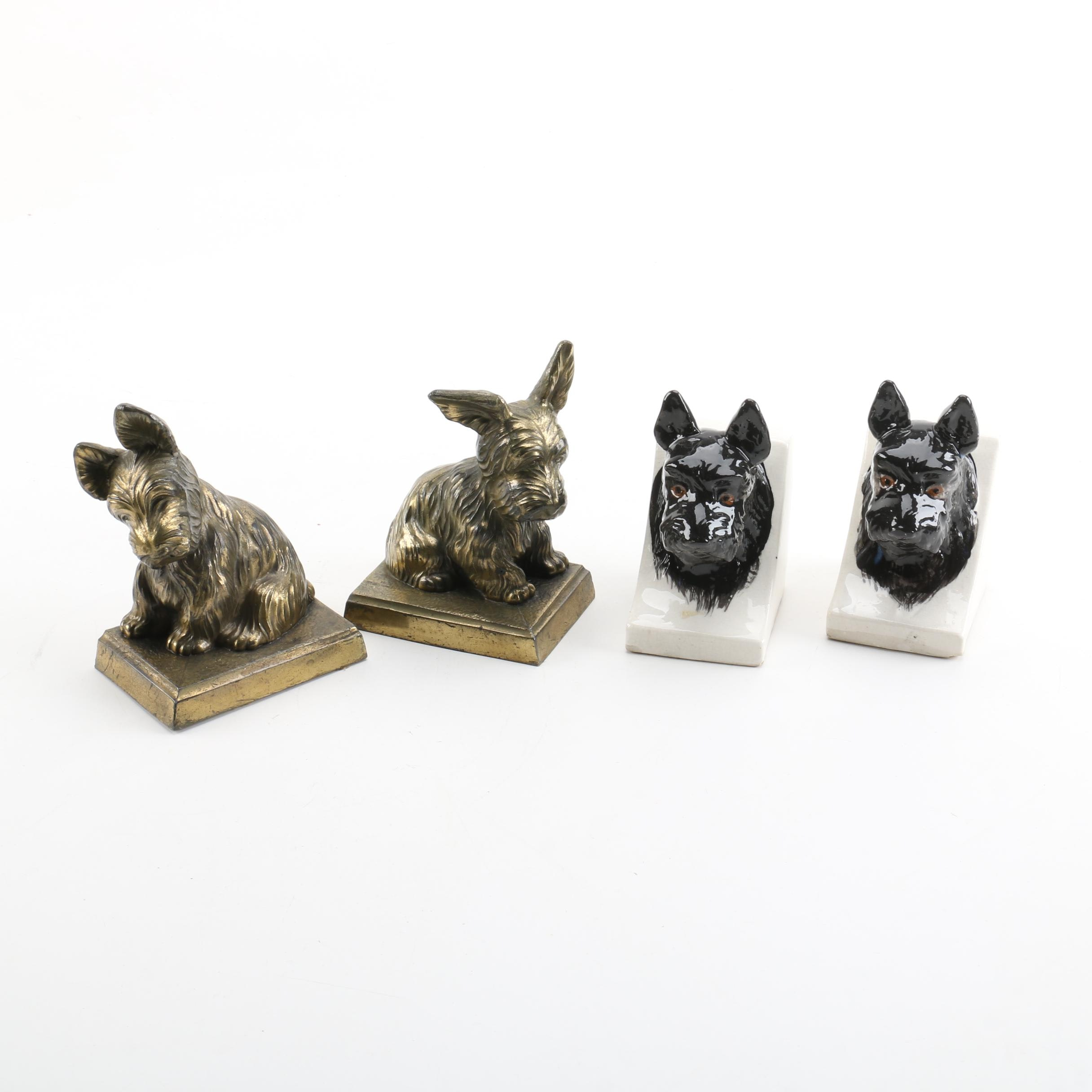 Brass and Ceramic Scottish Terrier Bookends