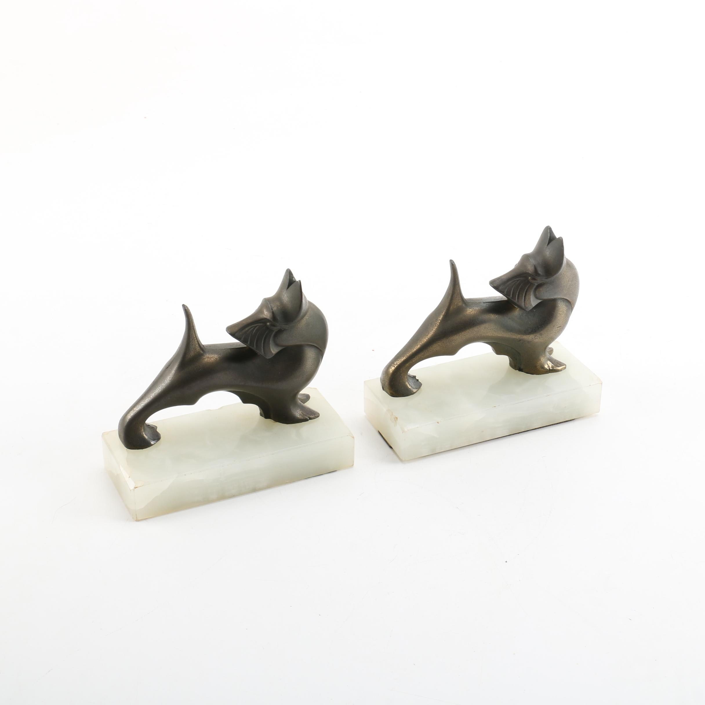 Pair of Brass and Calcite Scottish Terrier Bookends