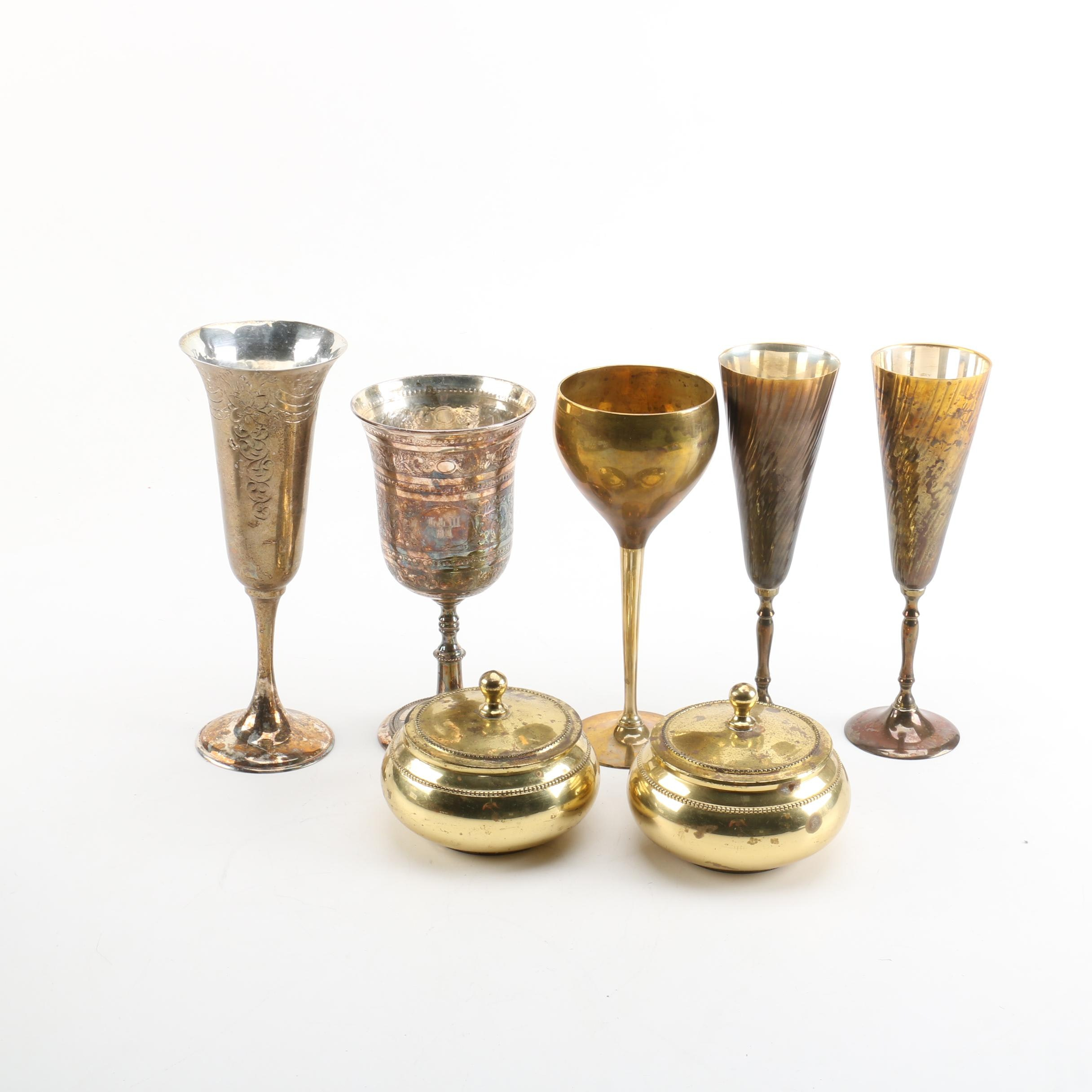 Silver Tone and Brass Goblets and Containers