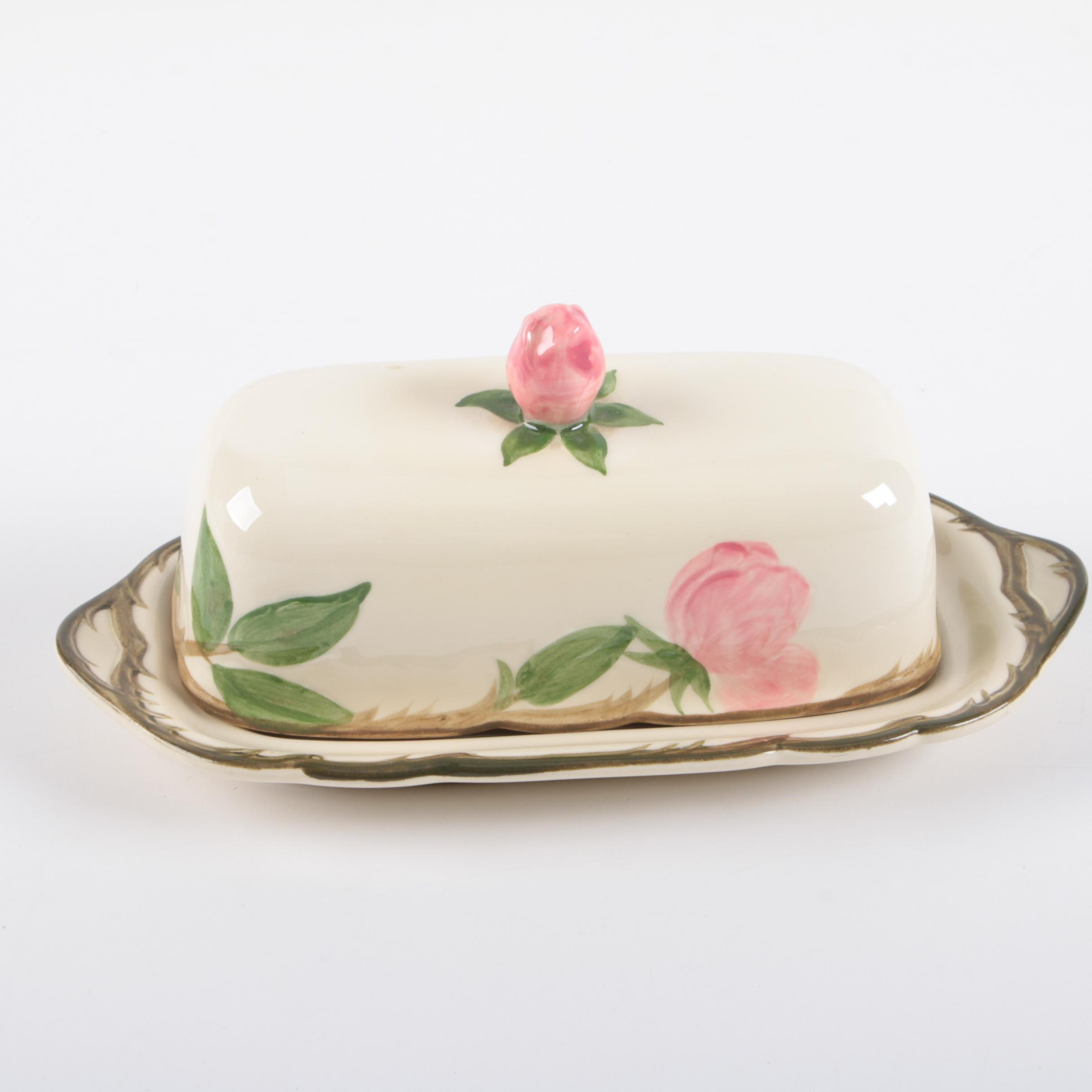 "Franciscan ""Desert Rose"" Earthenware Butter Dish"