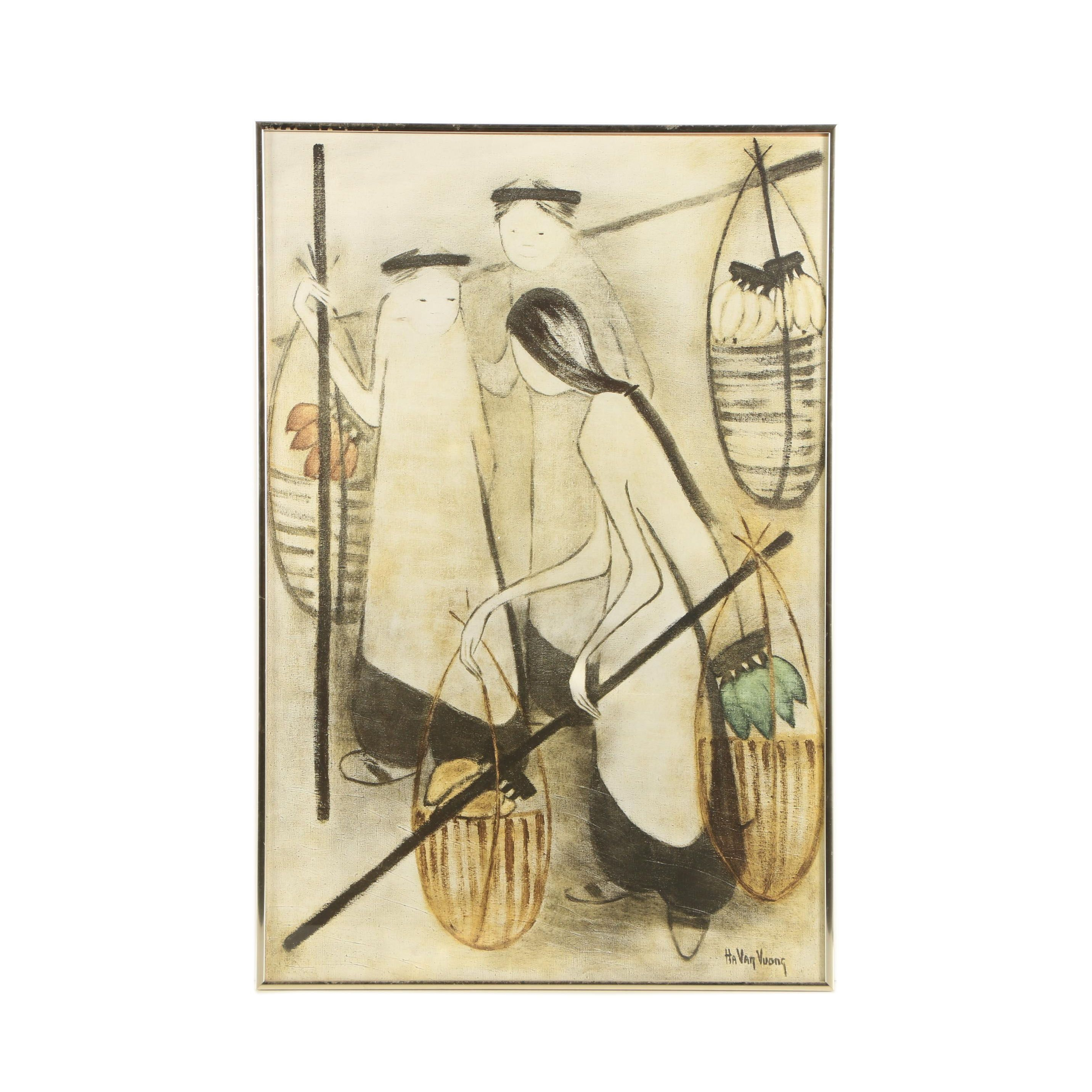 "Halftone Print After Lucienne Ha Van Vuong ""The Banana Sellers"""
