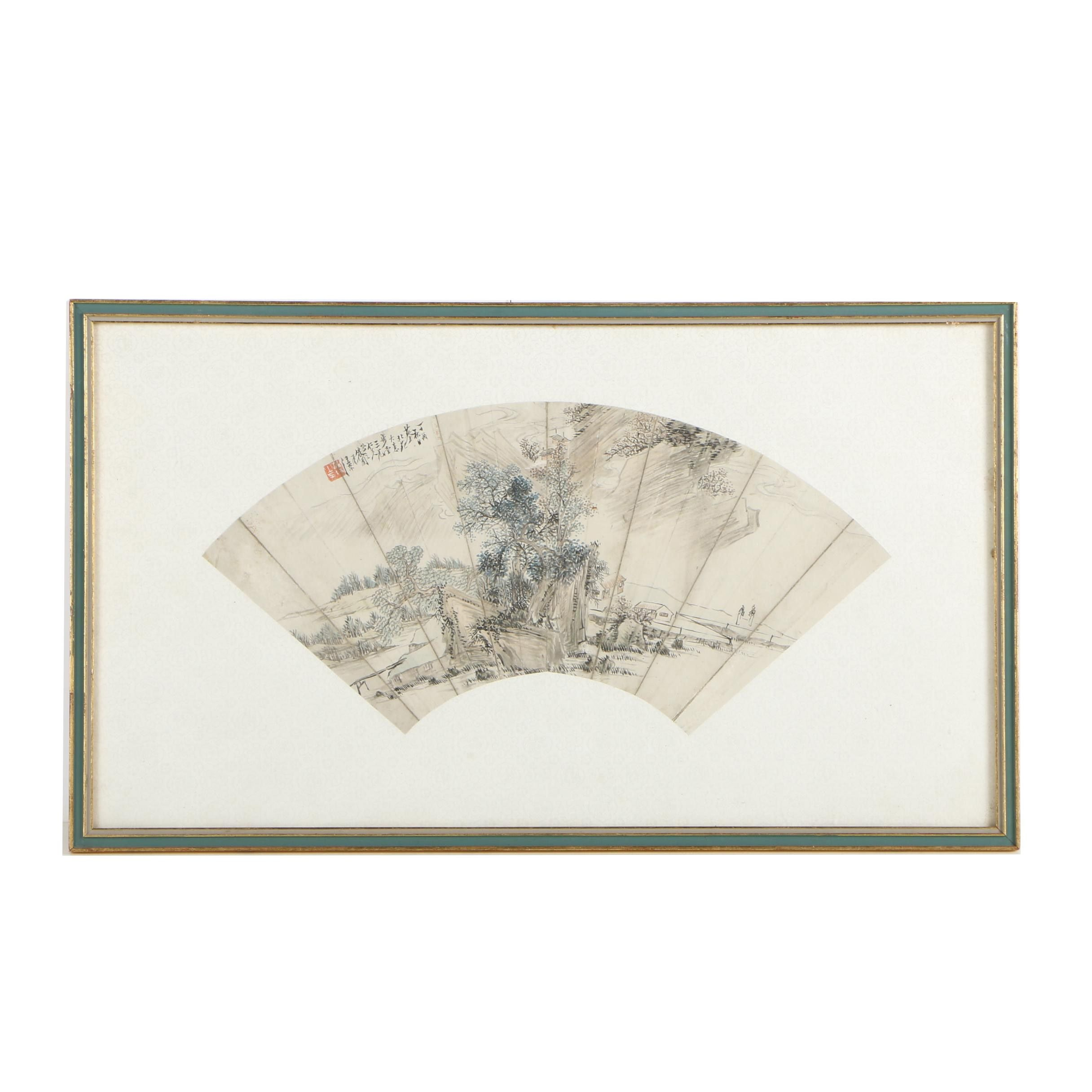Chinese Fan-Shaped Watercolor Painting