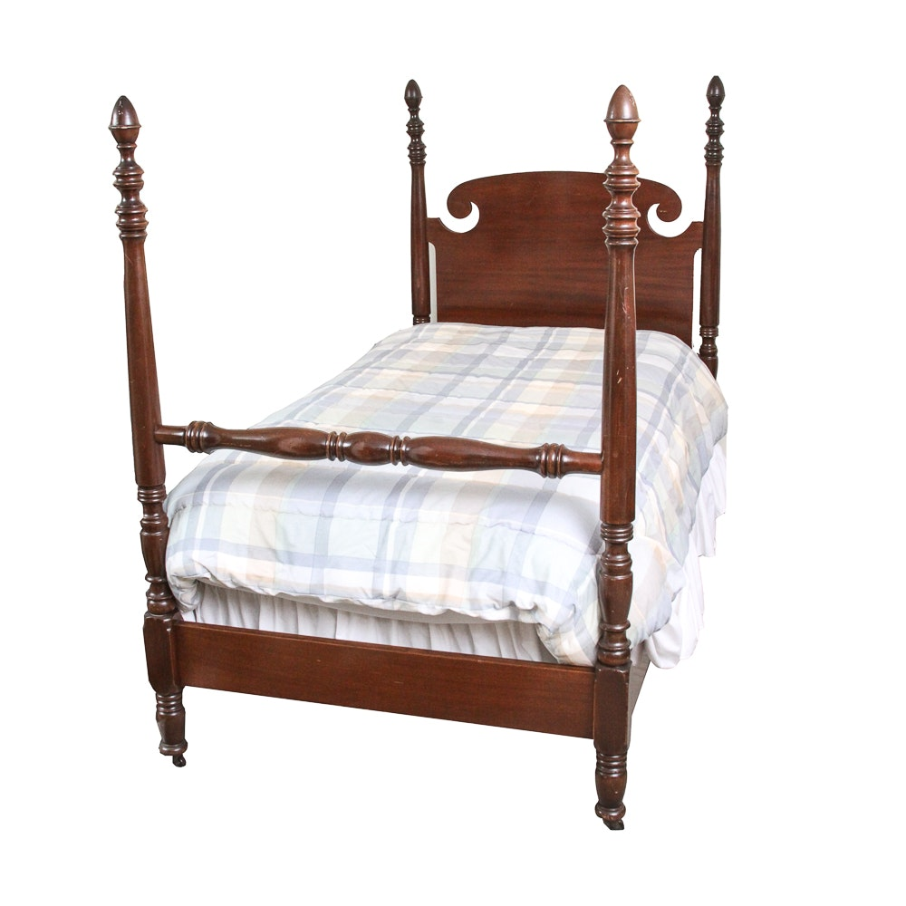 Four Poster Mahogany Twin Bed