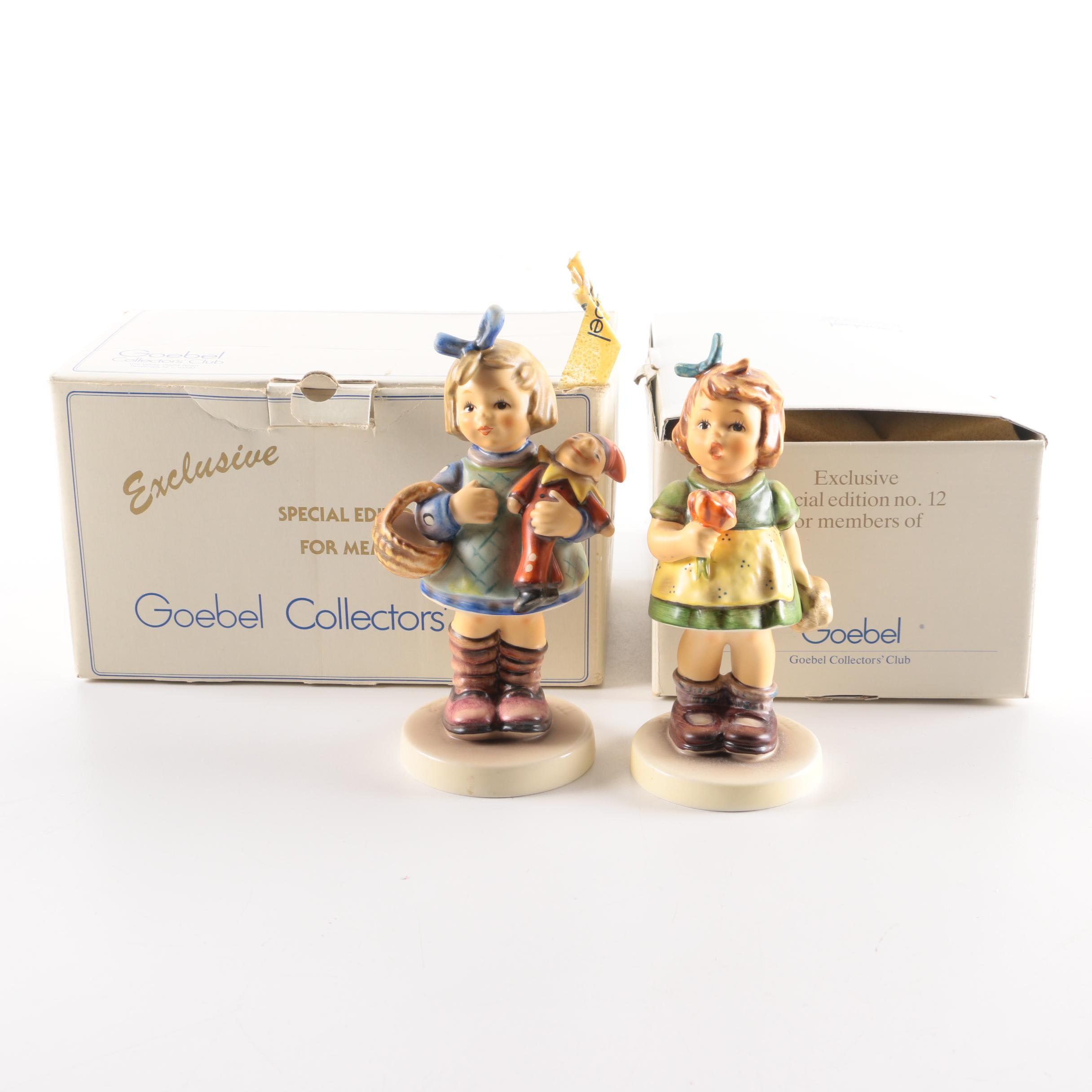 """Goebel Collector's Club """"What Now"""" and """"The Surprise"""" Hummel Porcelain Figurines"""