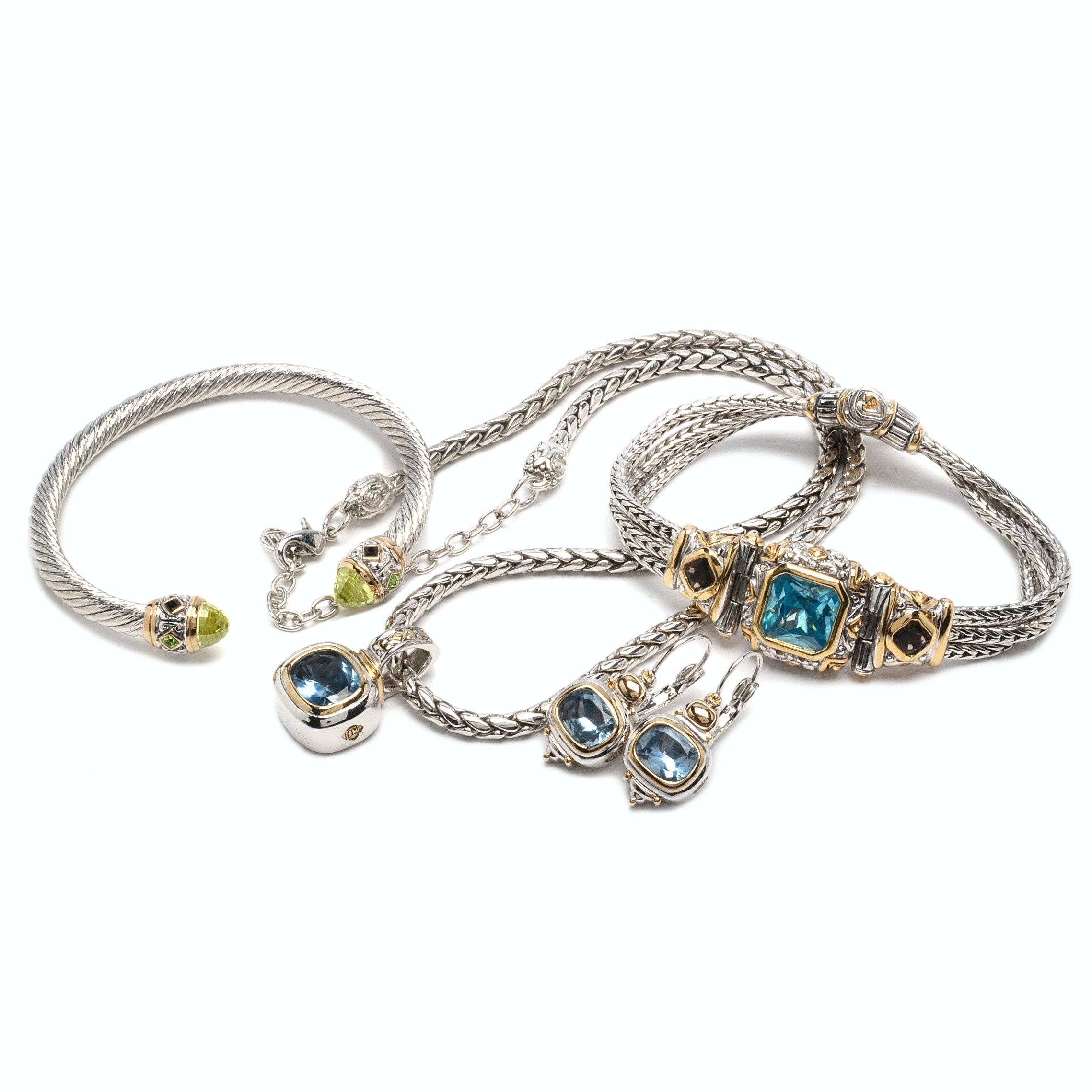 John Medeiros Blue Topaz And Smoky Quartz Jewelry Ebth