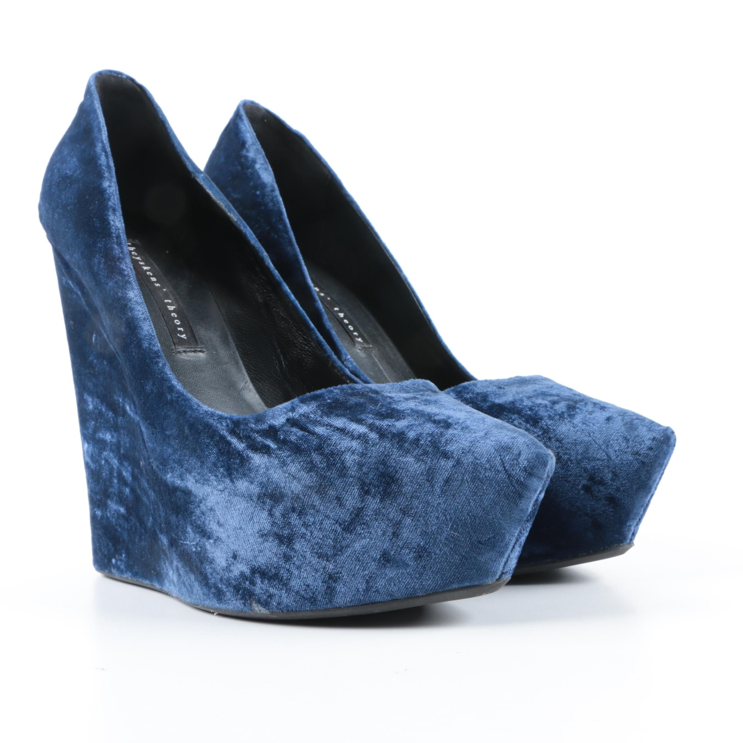 Women's Theyskens' Theory Blue Velvet Platform Wedges