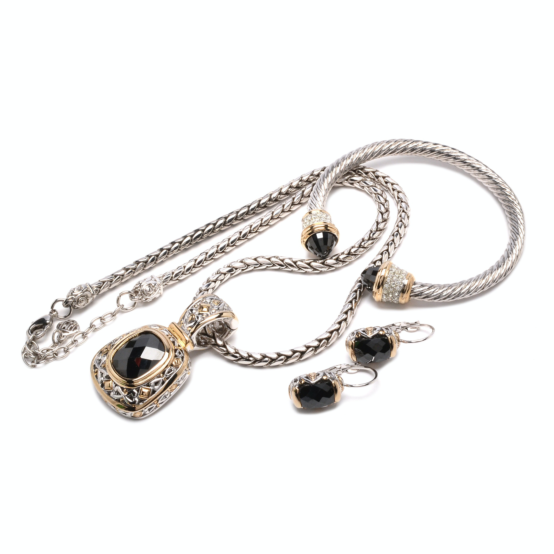 John Medeiros Jewelry With Black Faceted Cubic Zirconia
