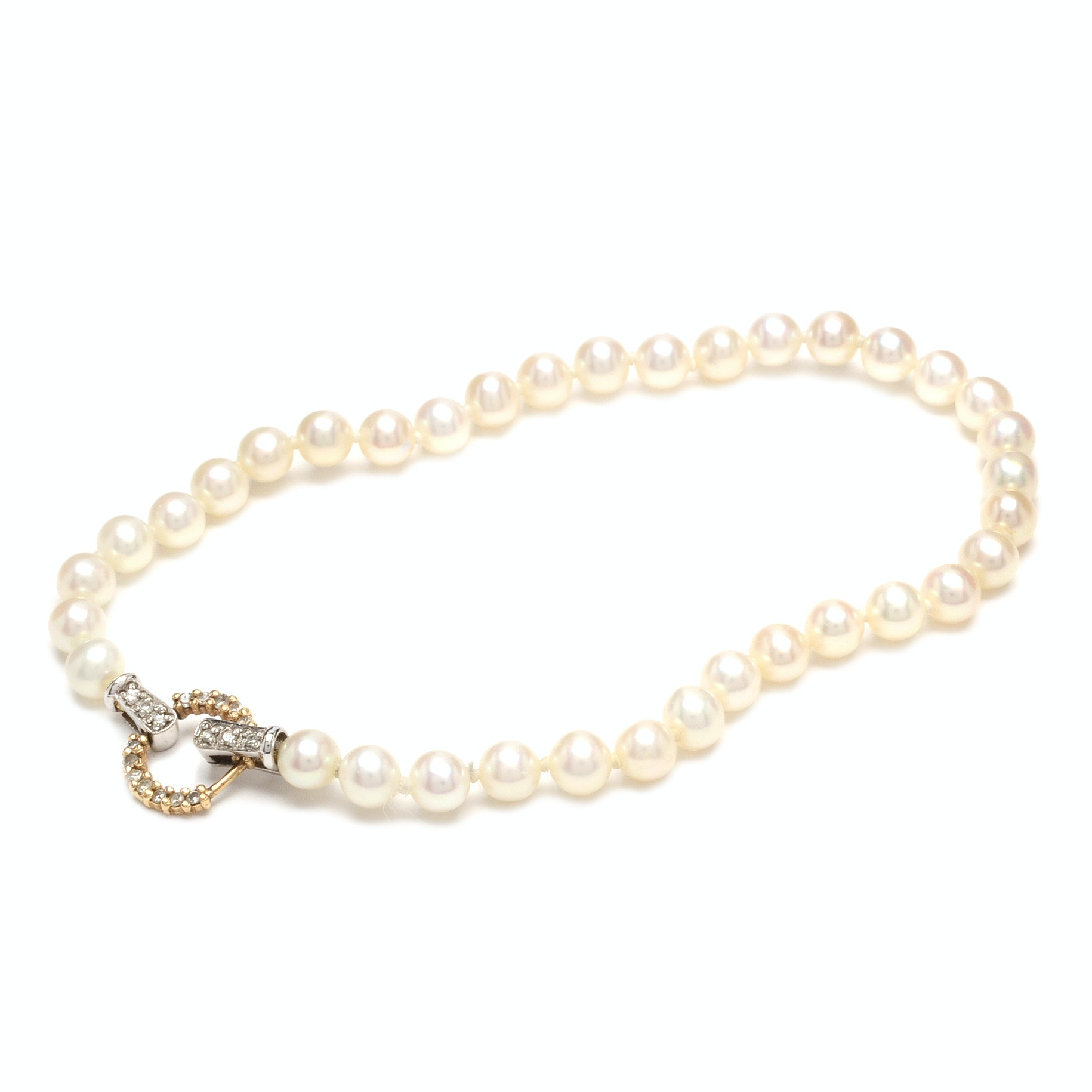 Pearl Bracelet with 14K Two-Tone Gold and Diamond Clasp