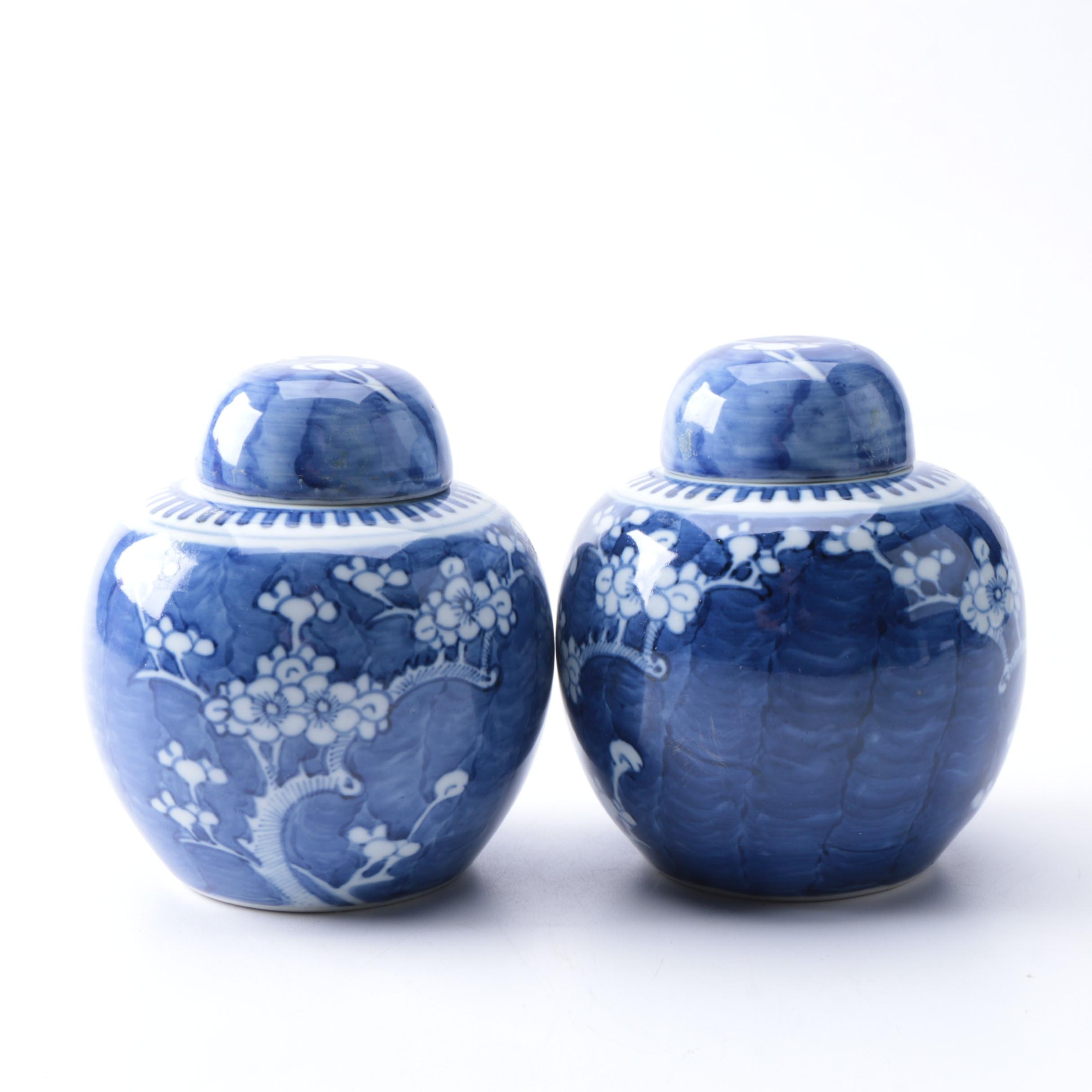 Porcelain Chinese Blue on White Ginger Jars