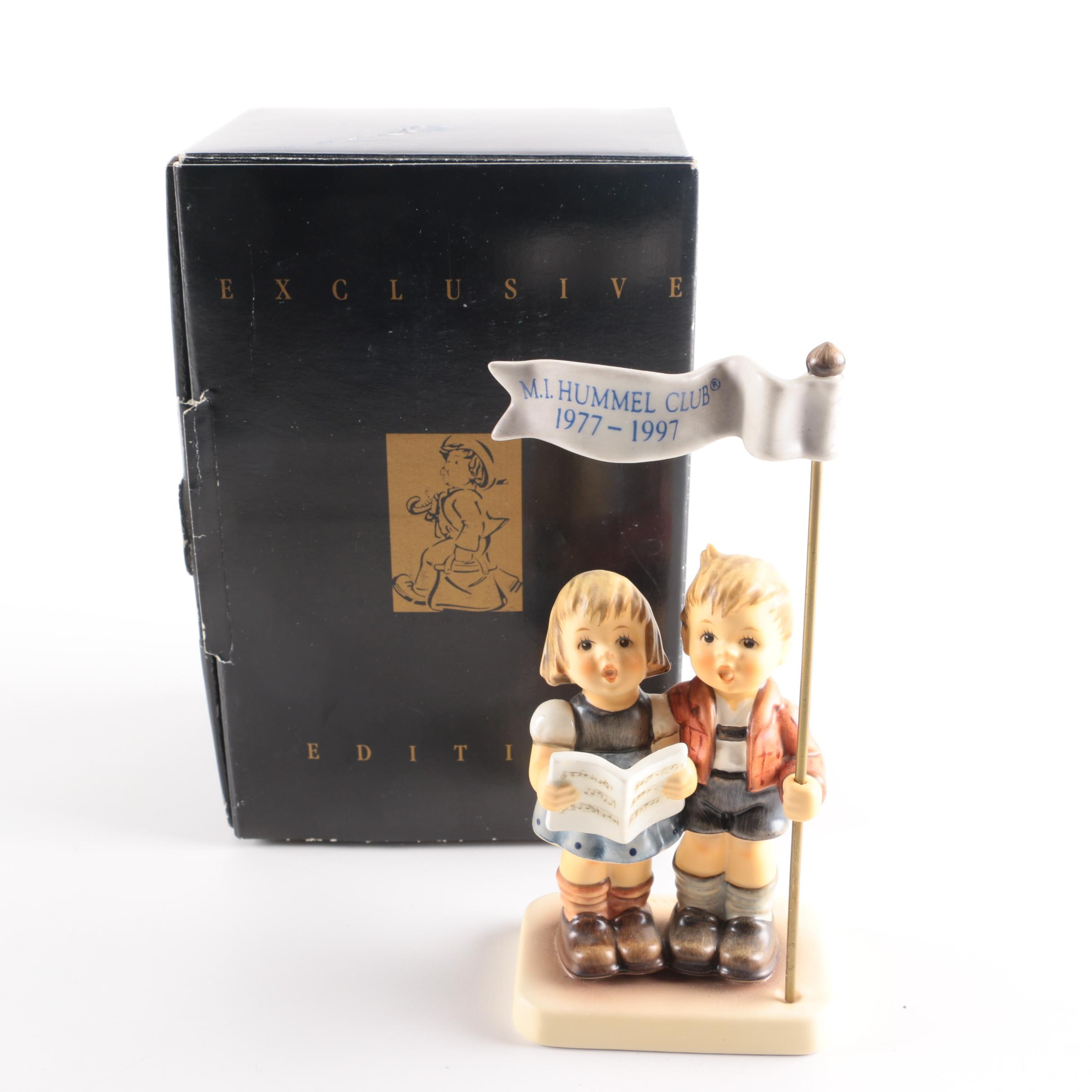 """M.I. Hummel Club 20th Birthday """"Celebrate with Song"""" Porcelain Figurine"""