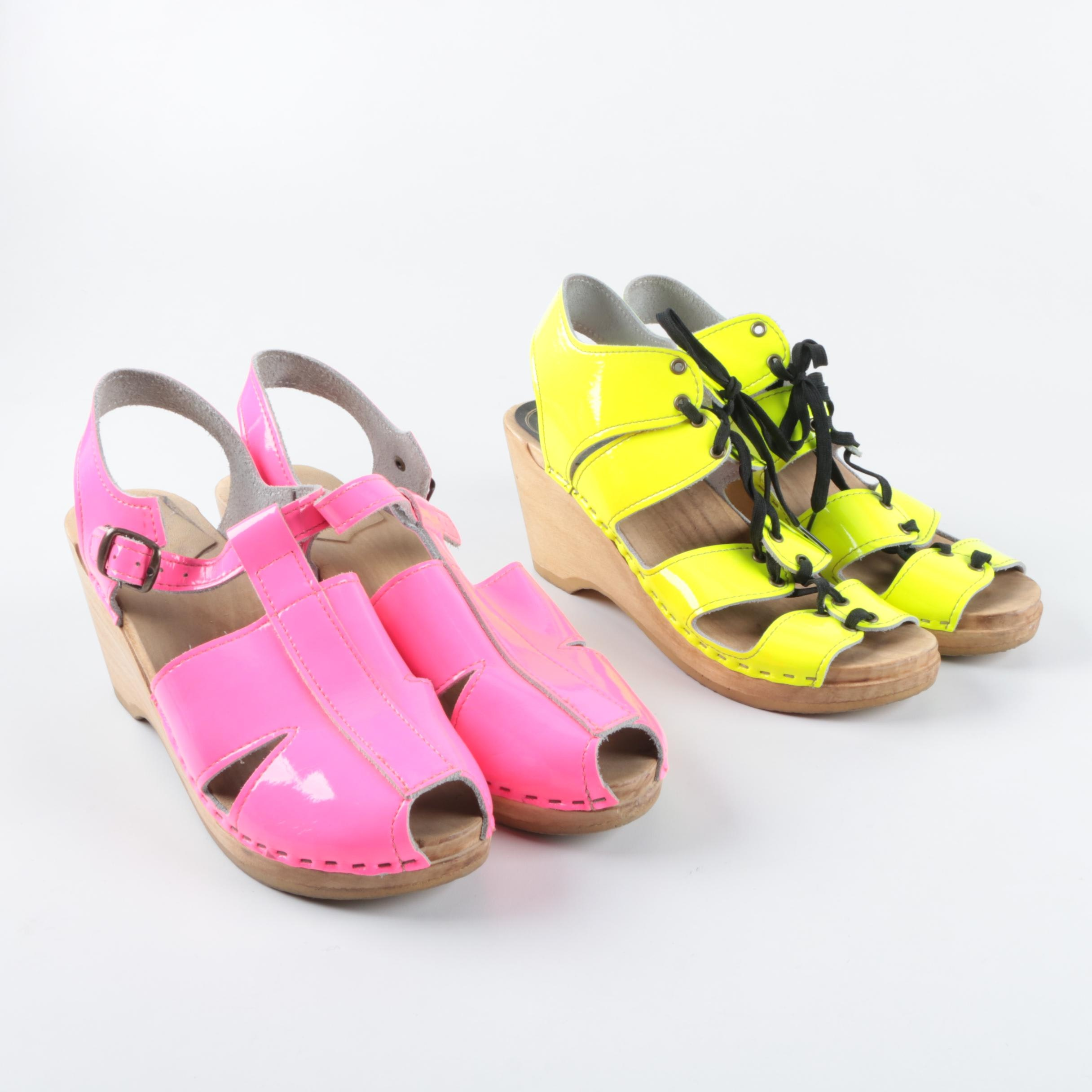 Women's No. 6 Neon Patent Leather Wedge Clogs