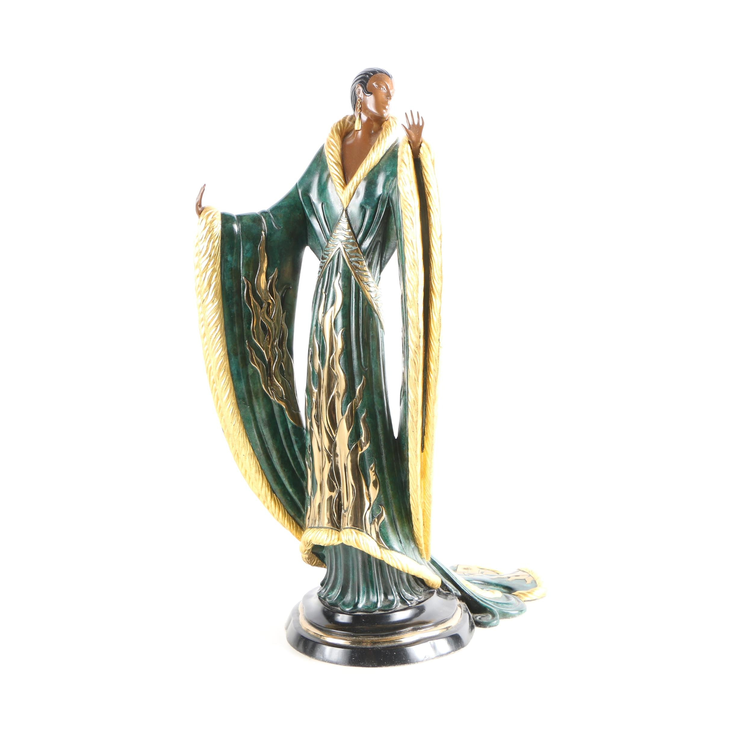 "Erté Patinated-Bronze Sculpture ""Femme de Luxe"""