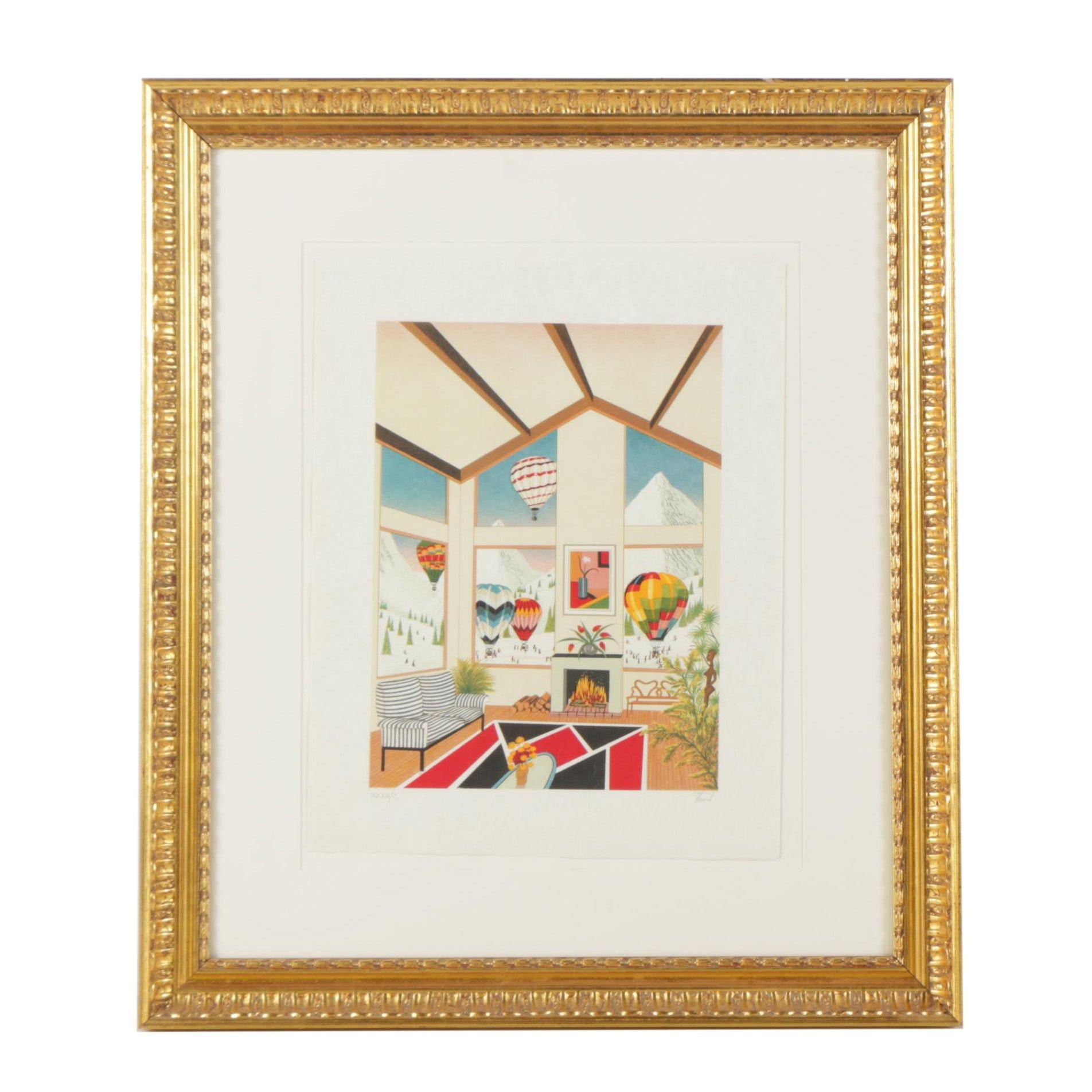 Fanch Ledan Color Lithograph of Interior Scene