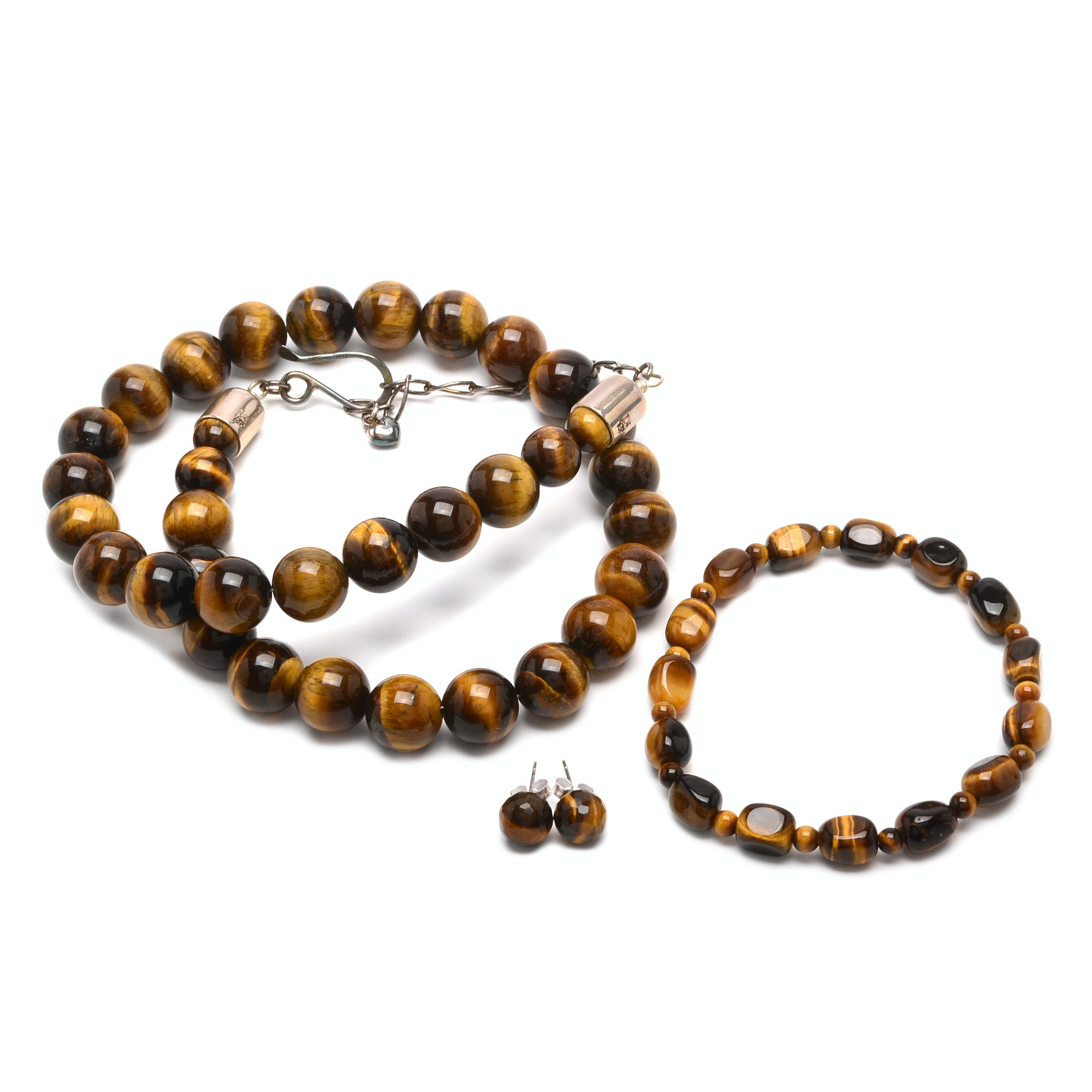 Jay King Sterling Silver Tiger's Eye Necklace with Bracelet and Earrings