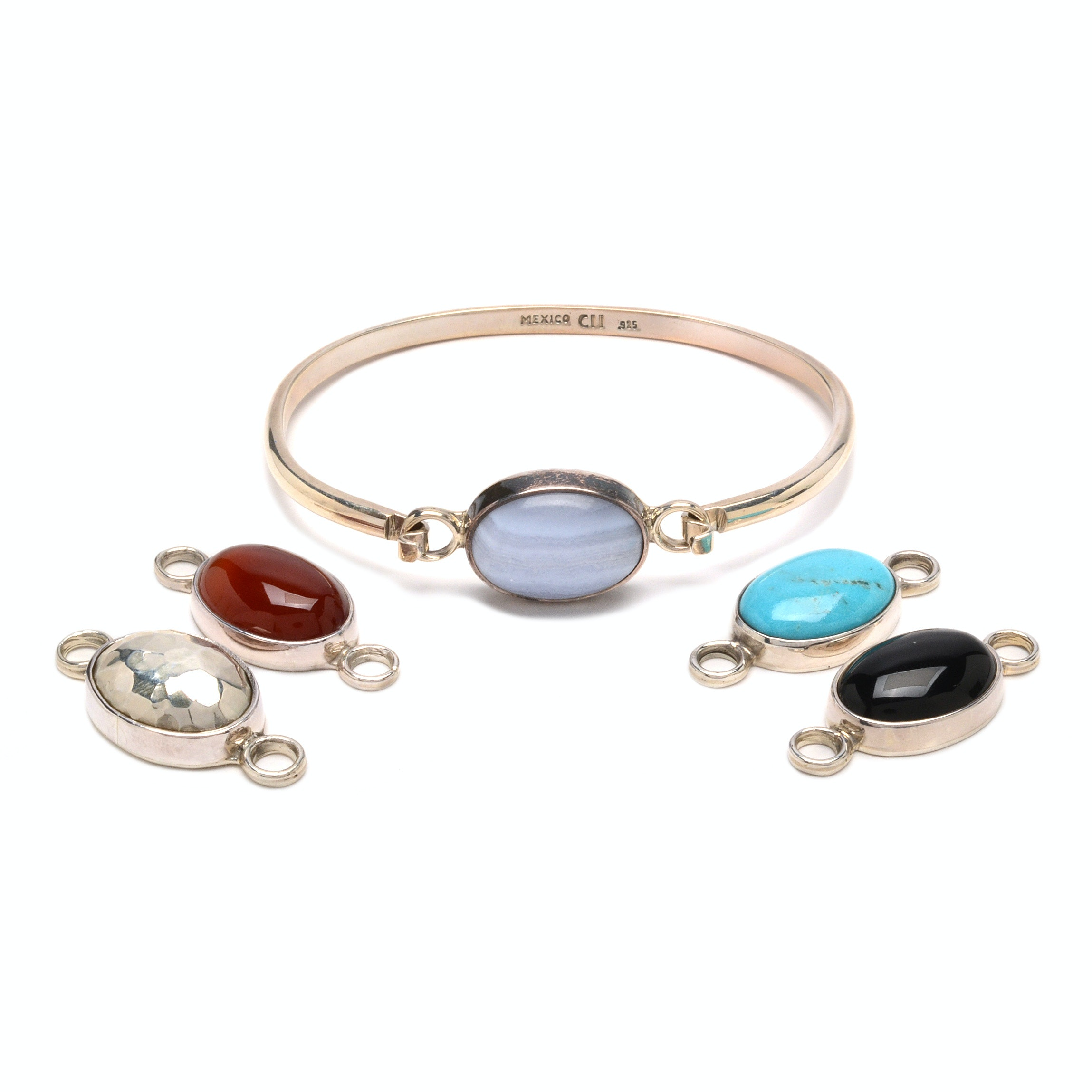 Sterling Silver Convertible Bracelet with Five Removable Clasps